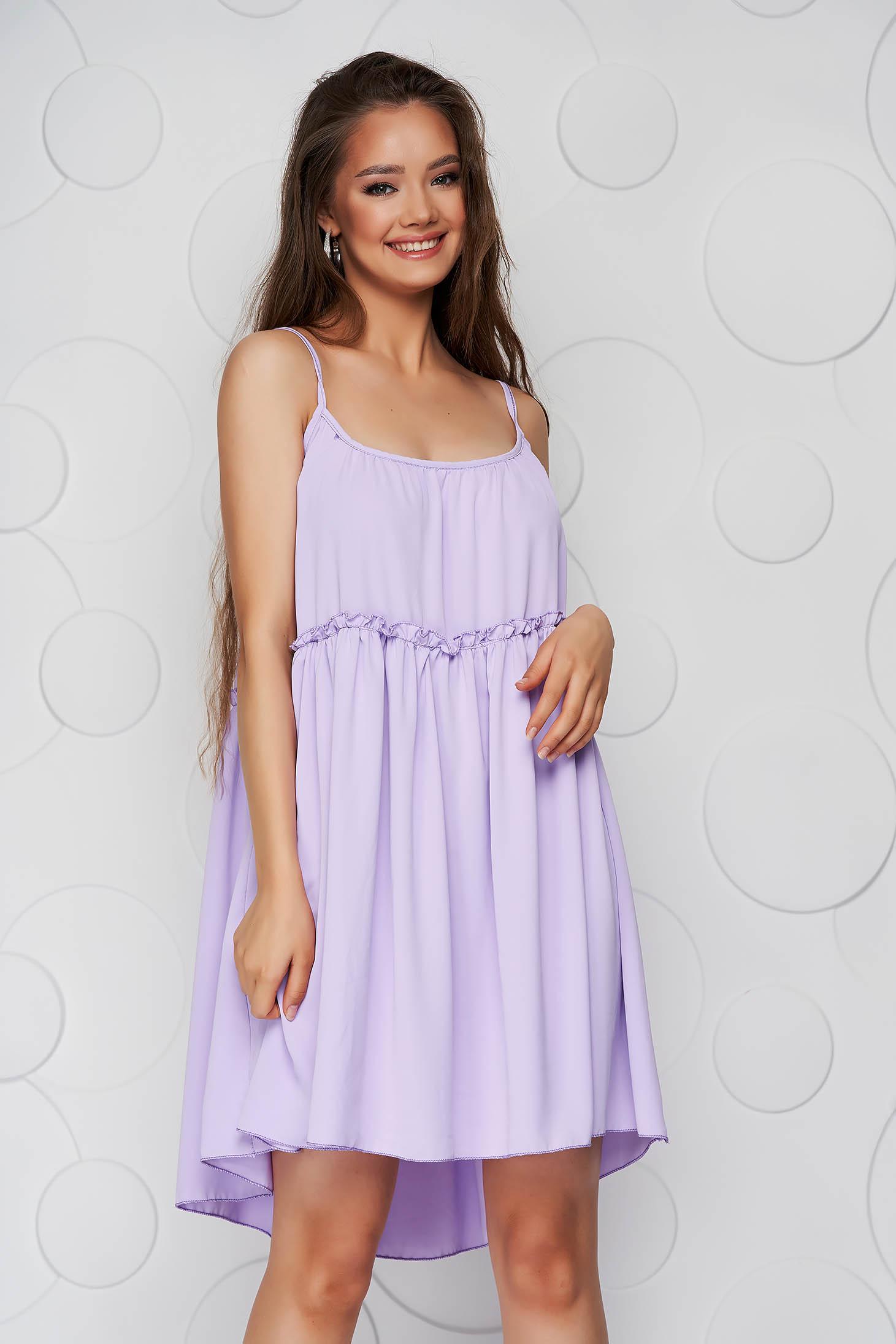 Lila ruha vékony anyag bő szabású pántos kerekített dekoltázssal vékony anyagból