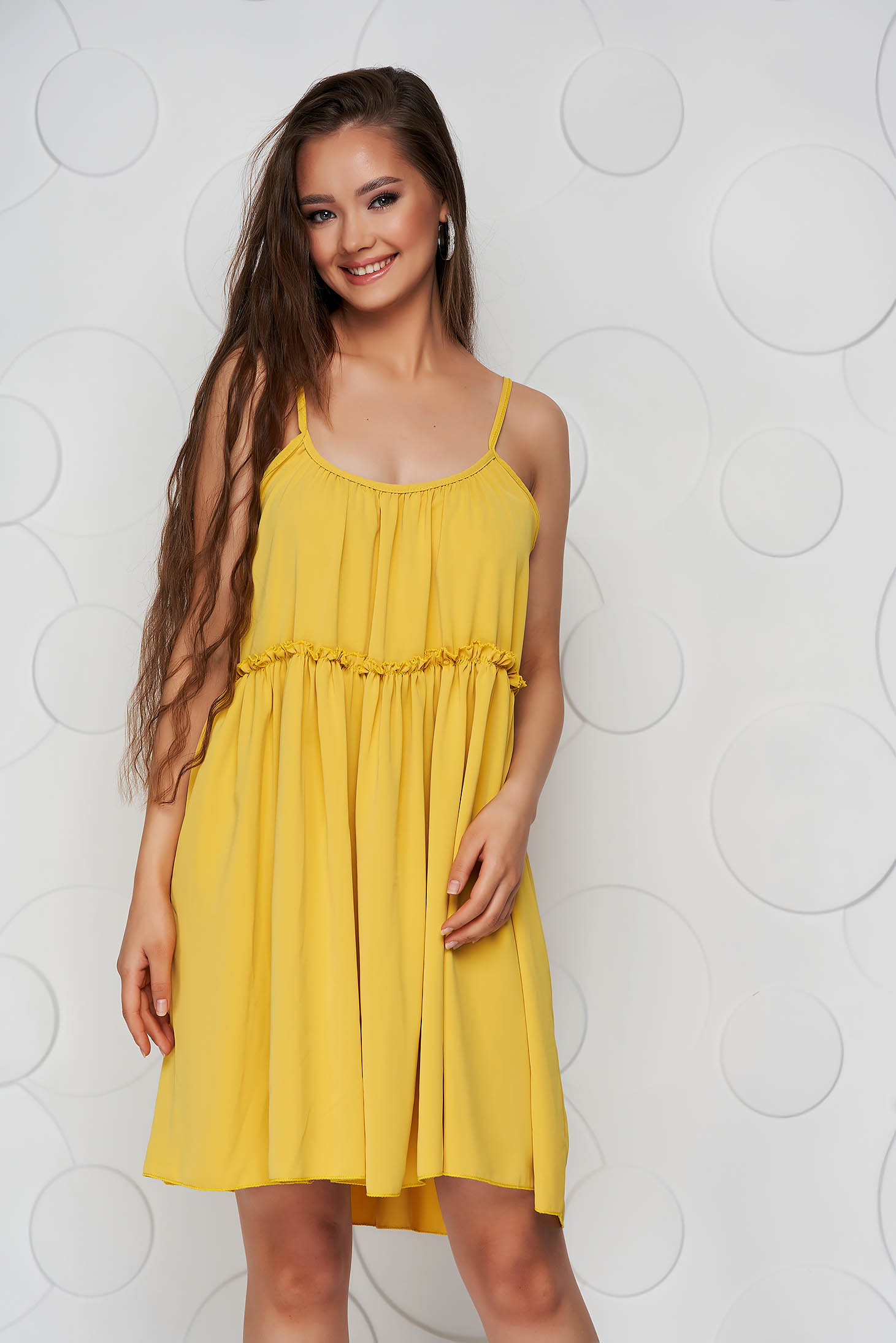 Mustard dress thin fabric loose fit with straps with rounded cleavage airy fabric