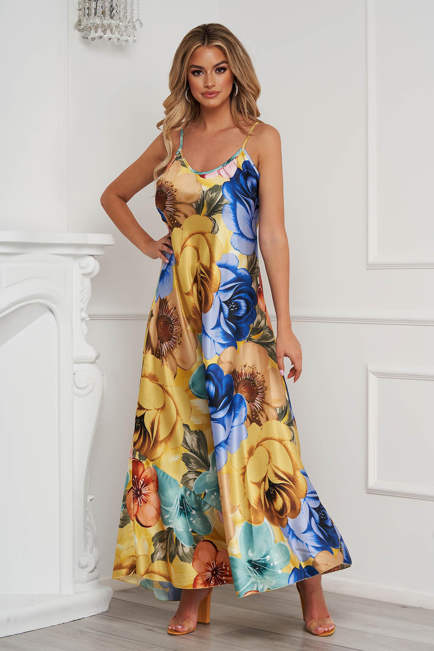 Rochie galbena cu imprimeu floral din material subtire cu croi larg lunga cu bretele