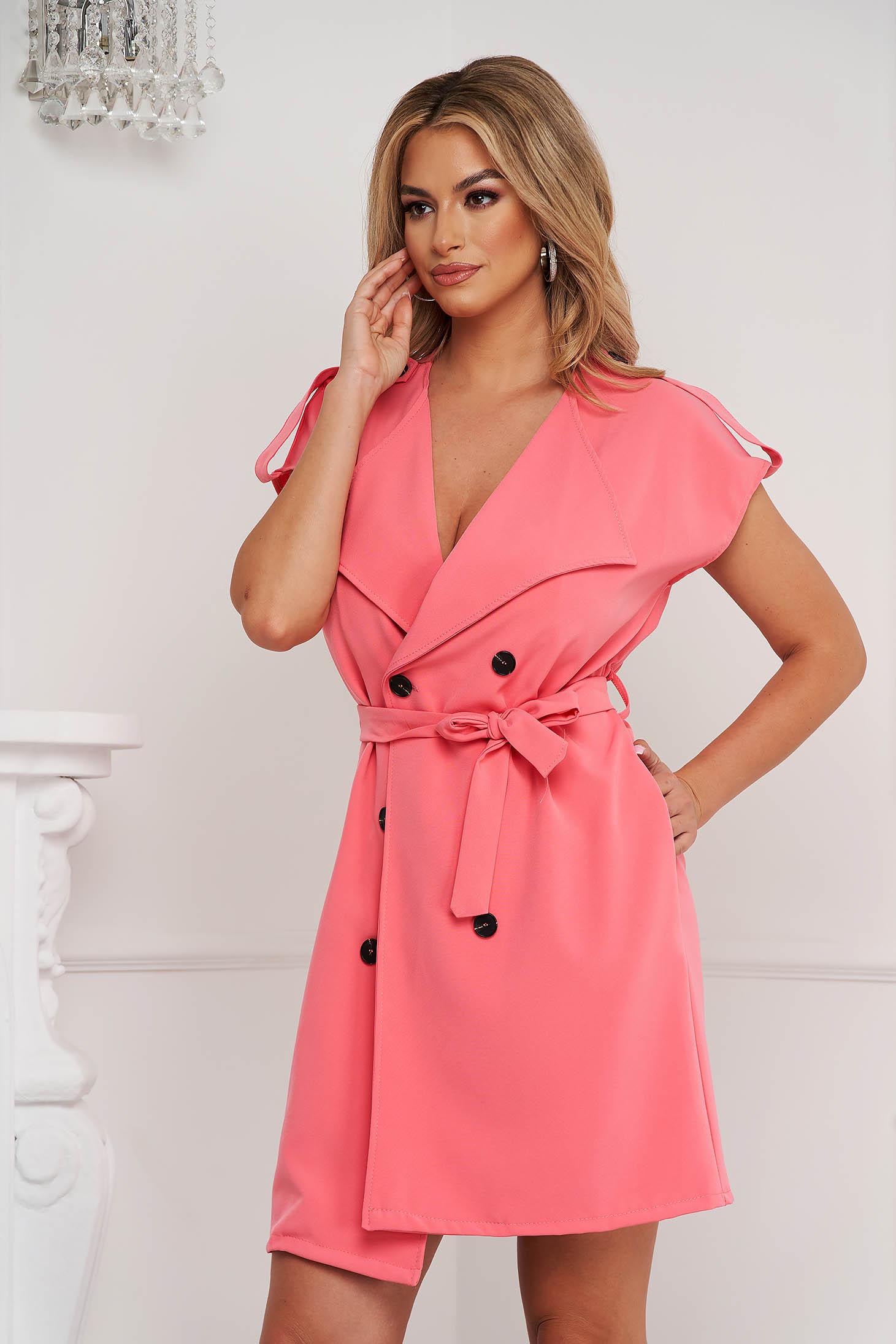 Rochie tip vesta SunShine roz accesorizata cu cordon din material usor elastic cu buzunare