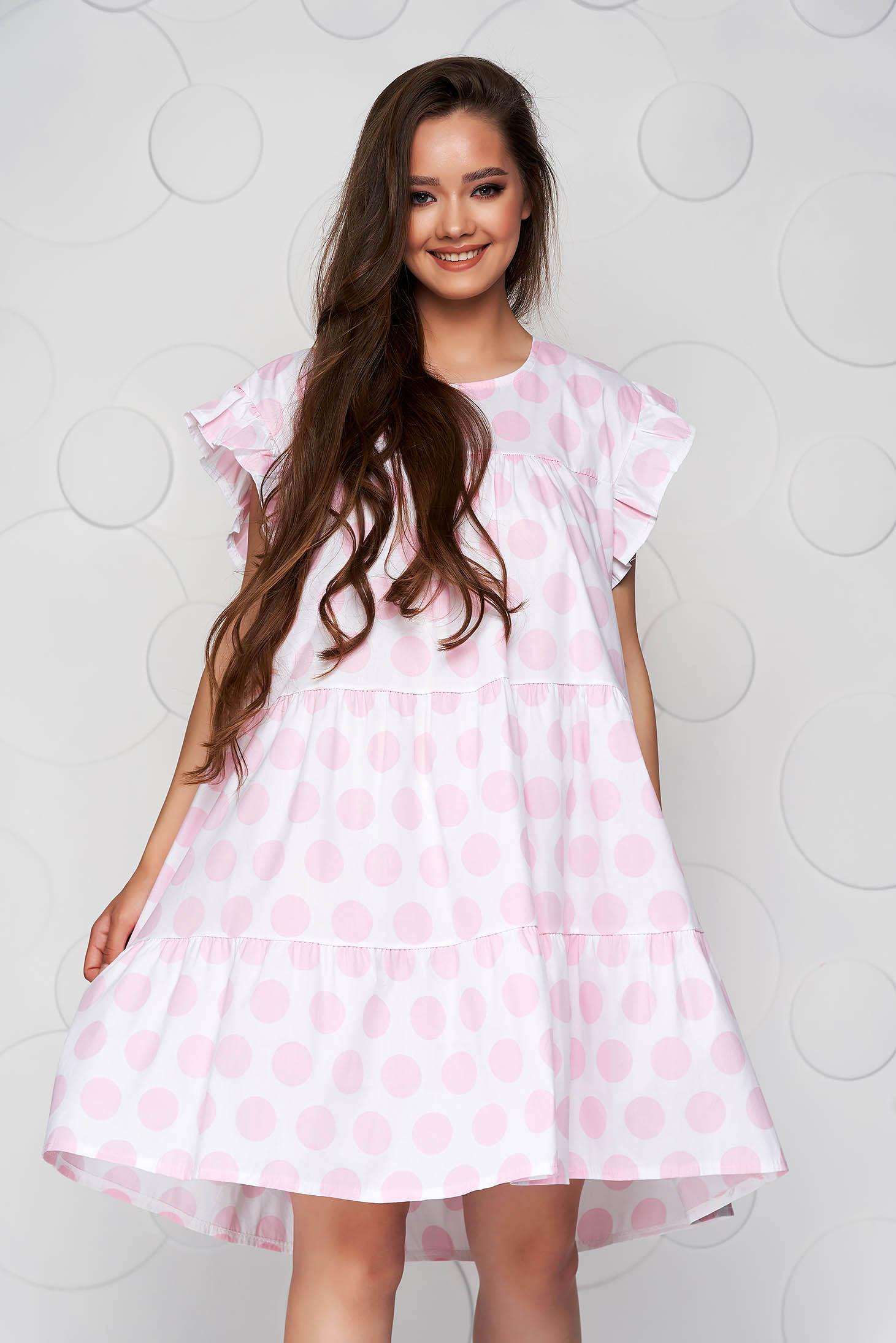 Lightpink dress dots print loose fit with ruffle details short cut poplin, thin cotton