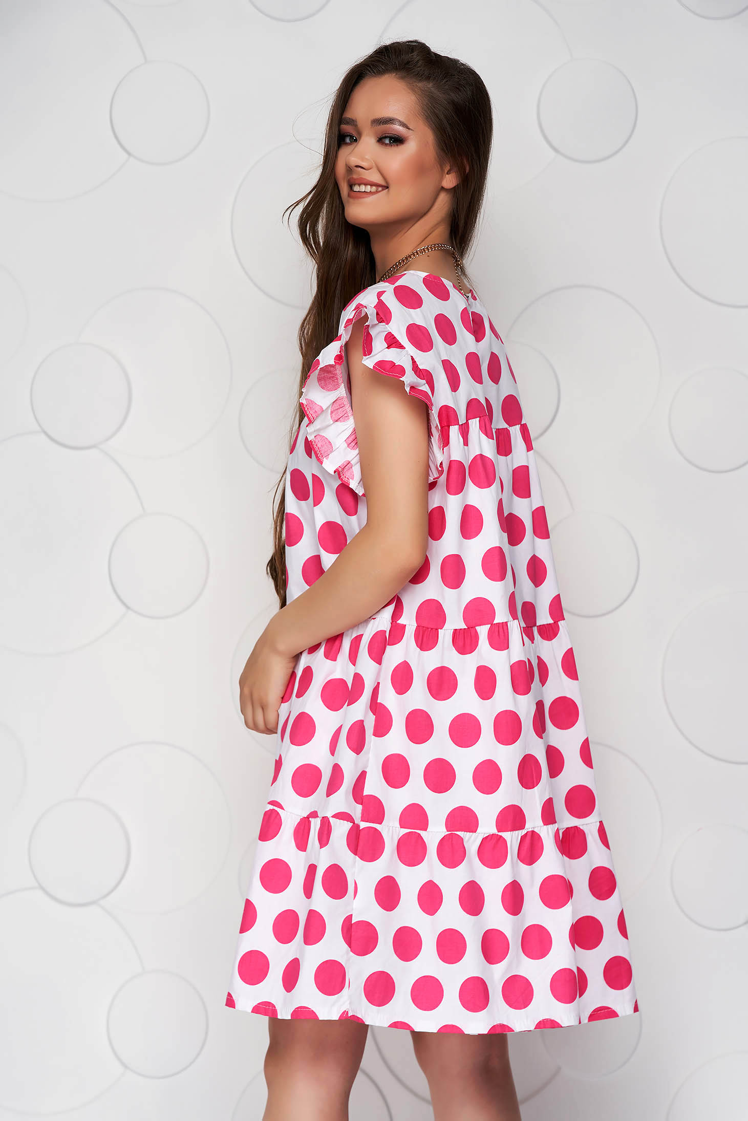 Pink dress dots print loose fit with ruffle details short cut poplin, thin cotton