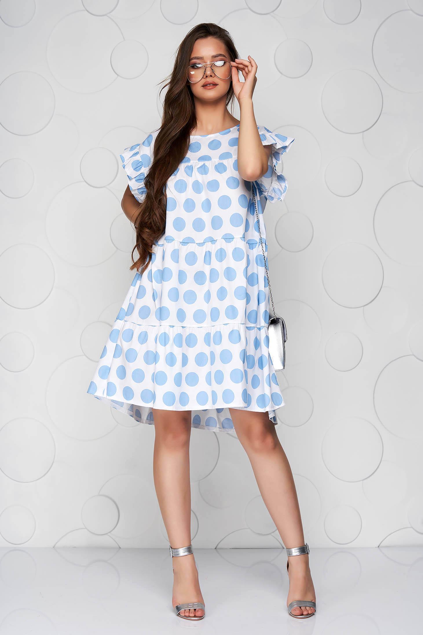 Blue dress dots print loose fit with ruffle details short cut poplin, thin cotton