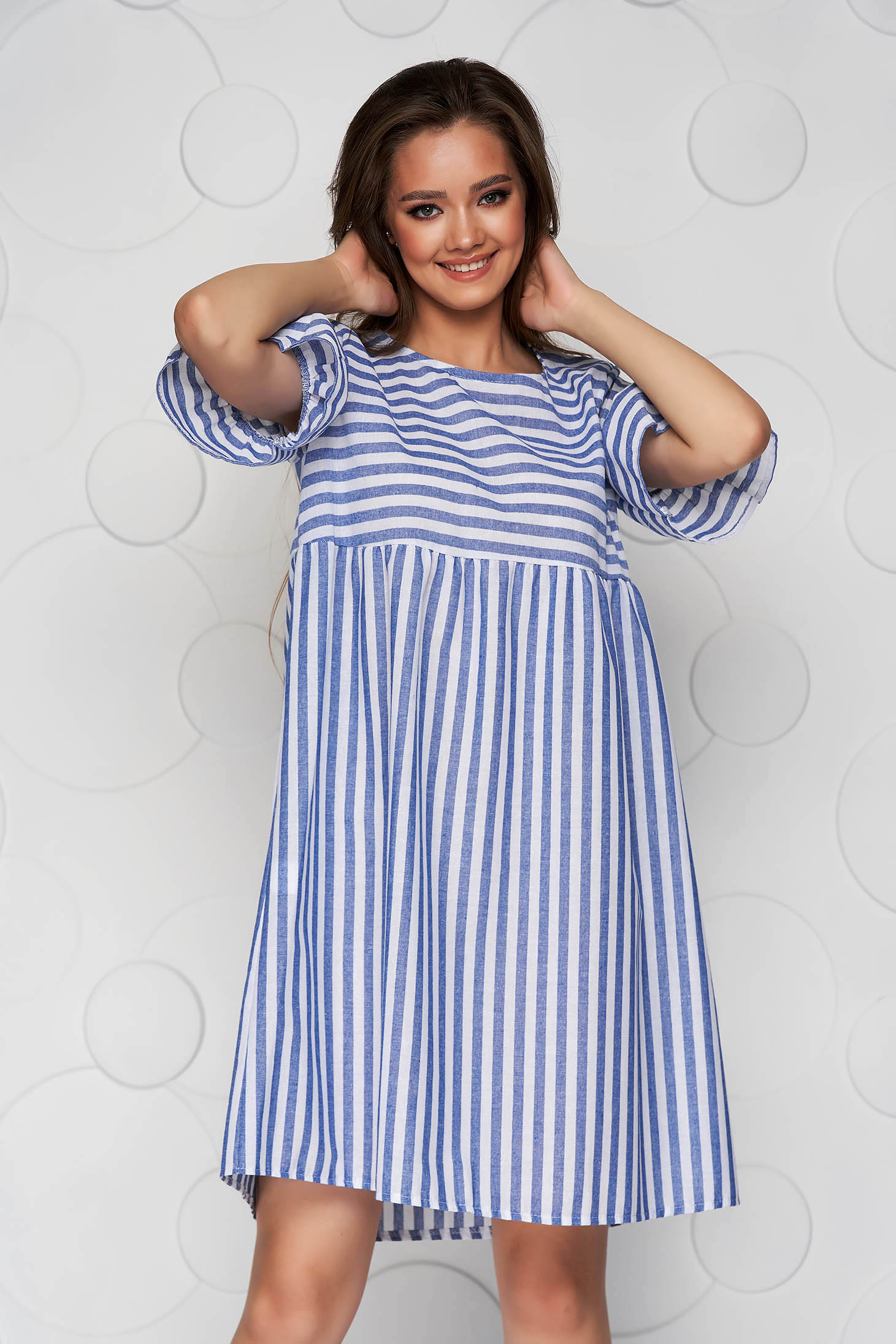 Blue dress with stripes loose fit midi cotton