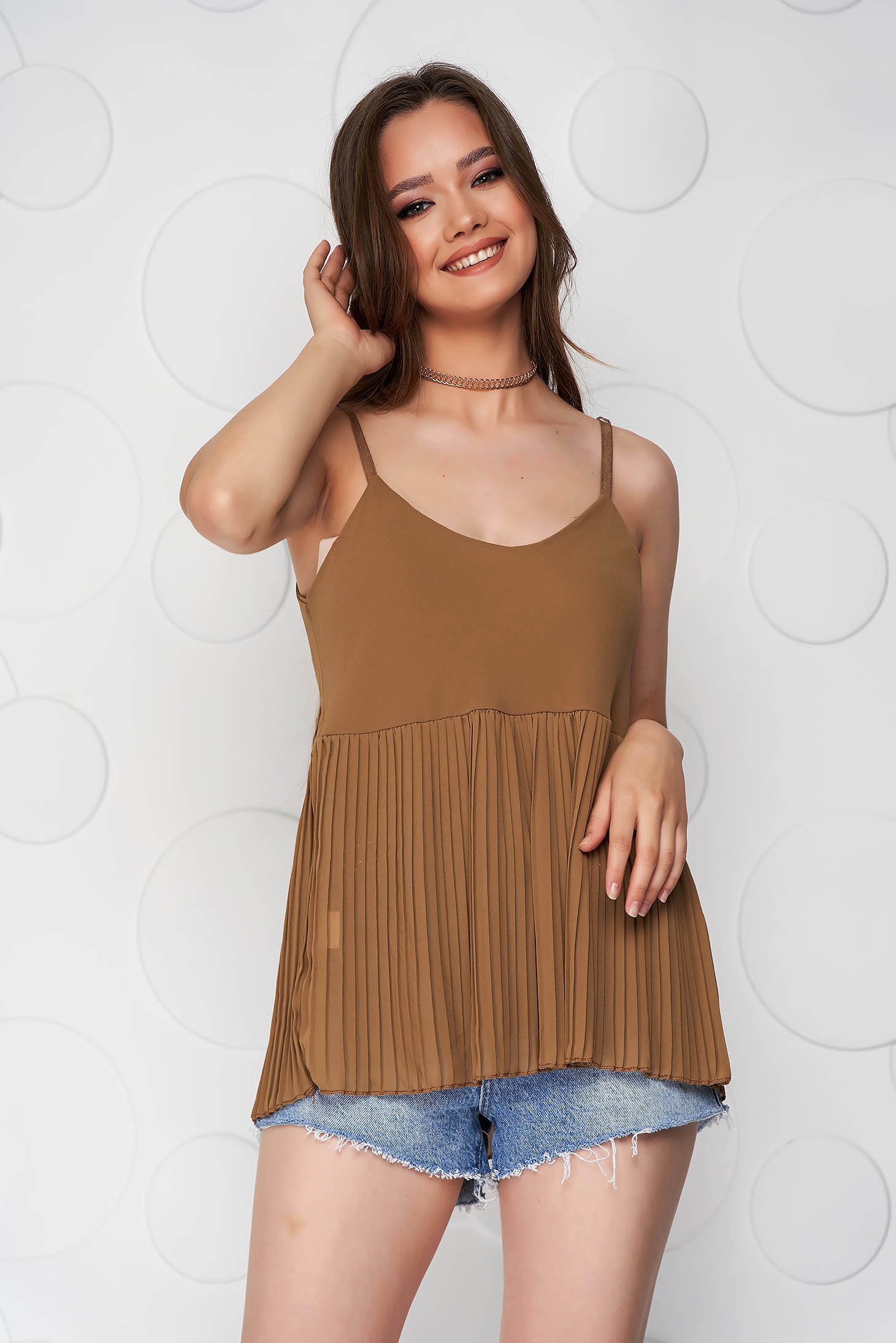 Brown top shirt loose fit folded up from veil fabric with straps