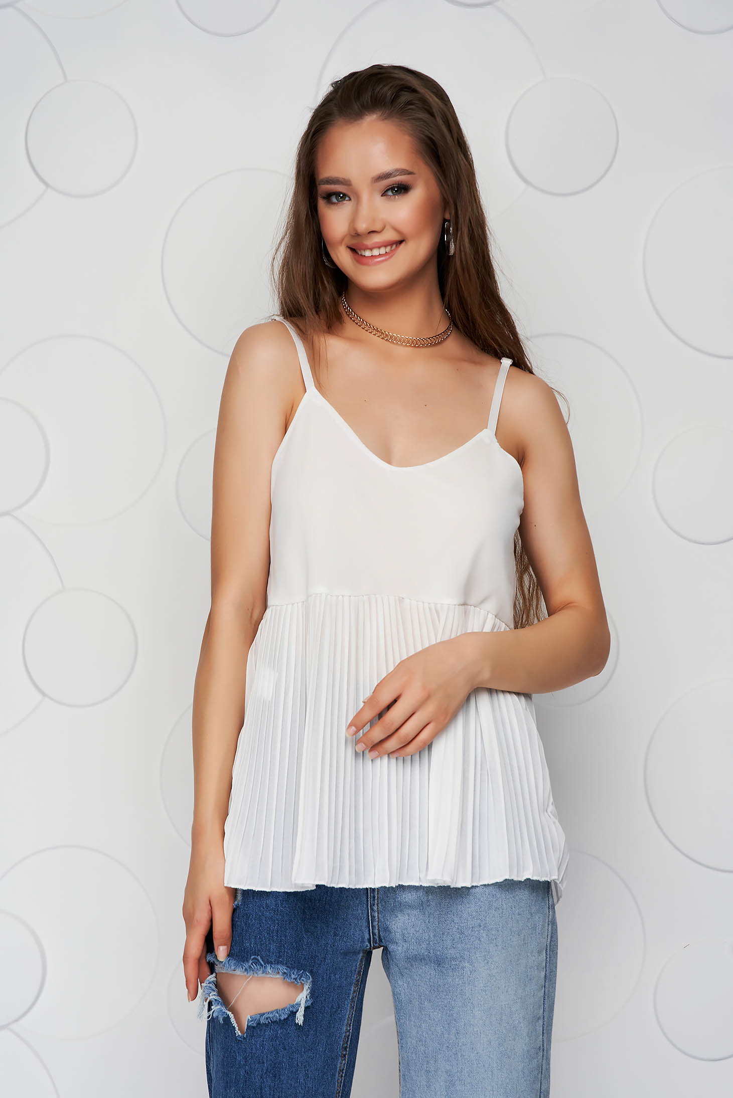 White top shirt loose fit folded up from veil fabric with straps