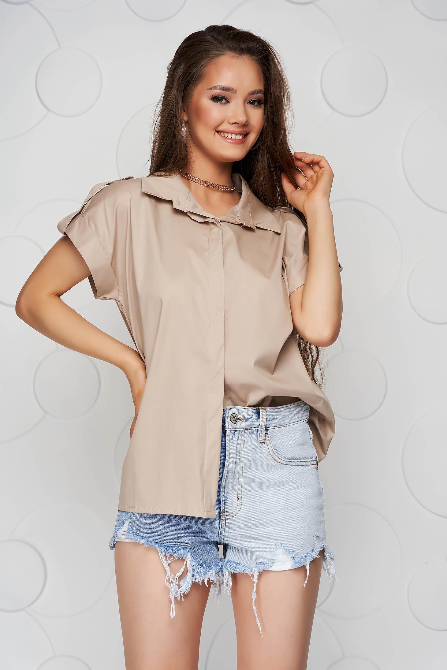 Cream women`s shirt basic loose fit short sleeve