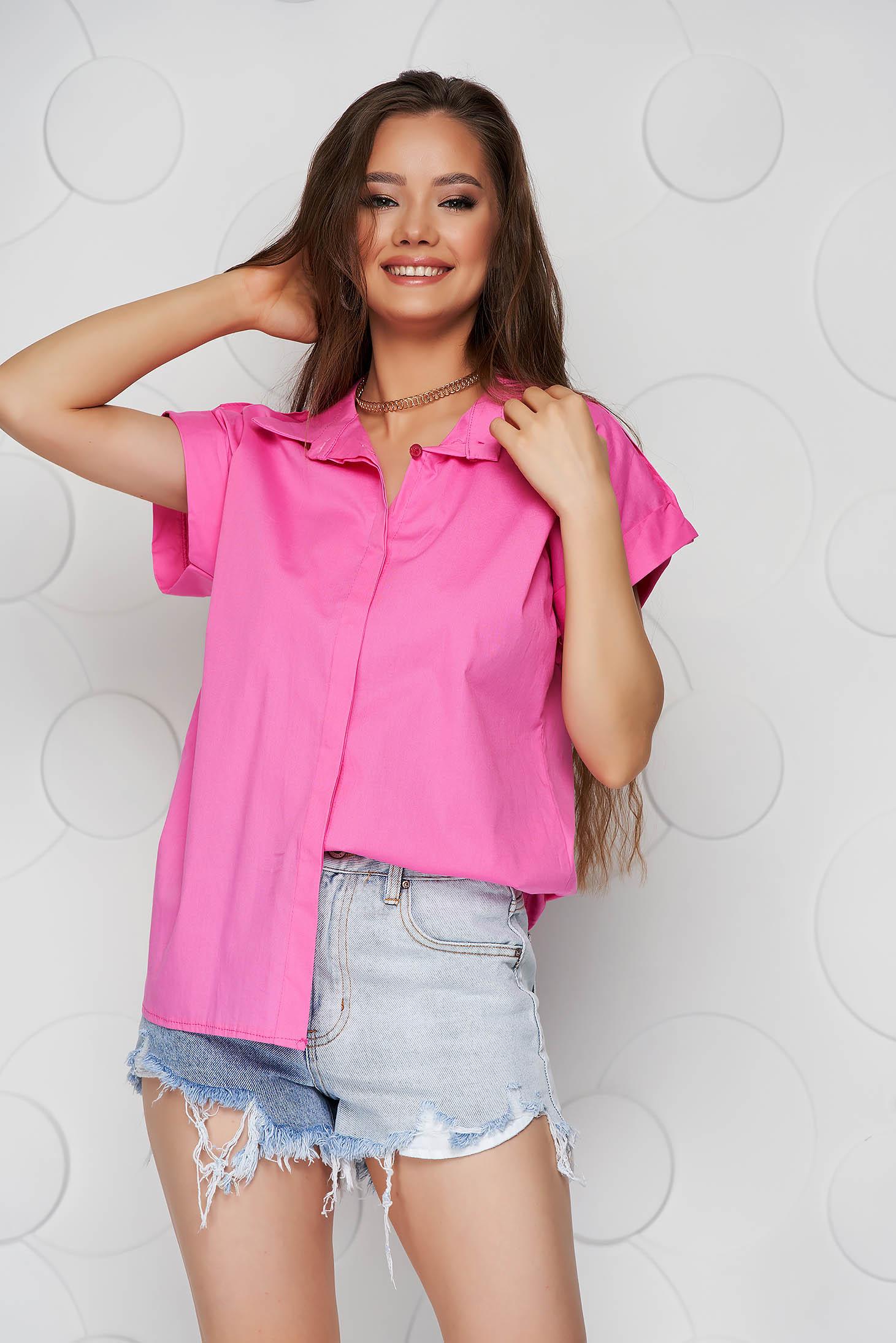 Pink women`s shirt basic loose fit short sleeve