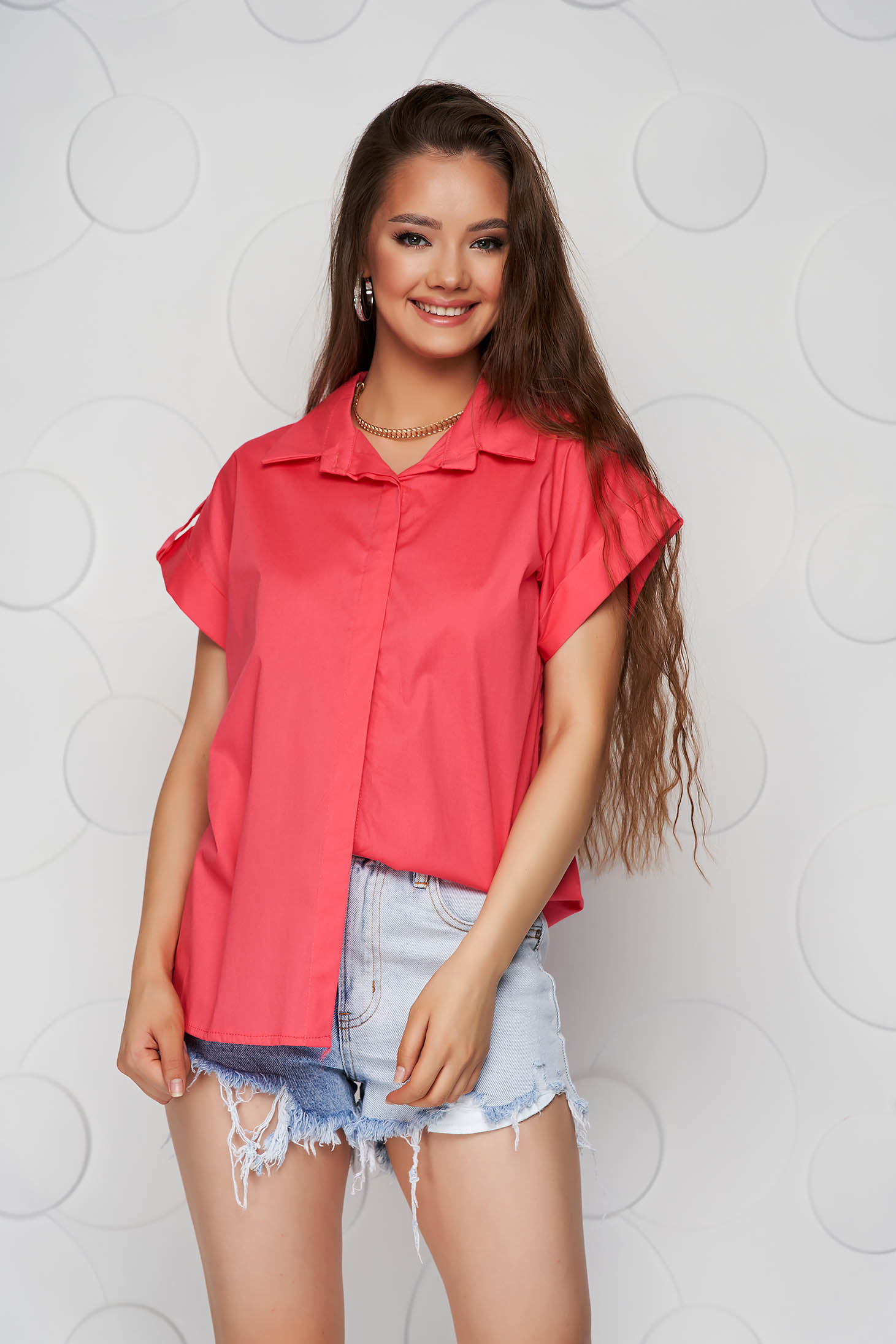 Coral women`s shirt basic loose fit short sleeve