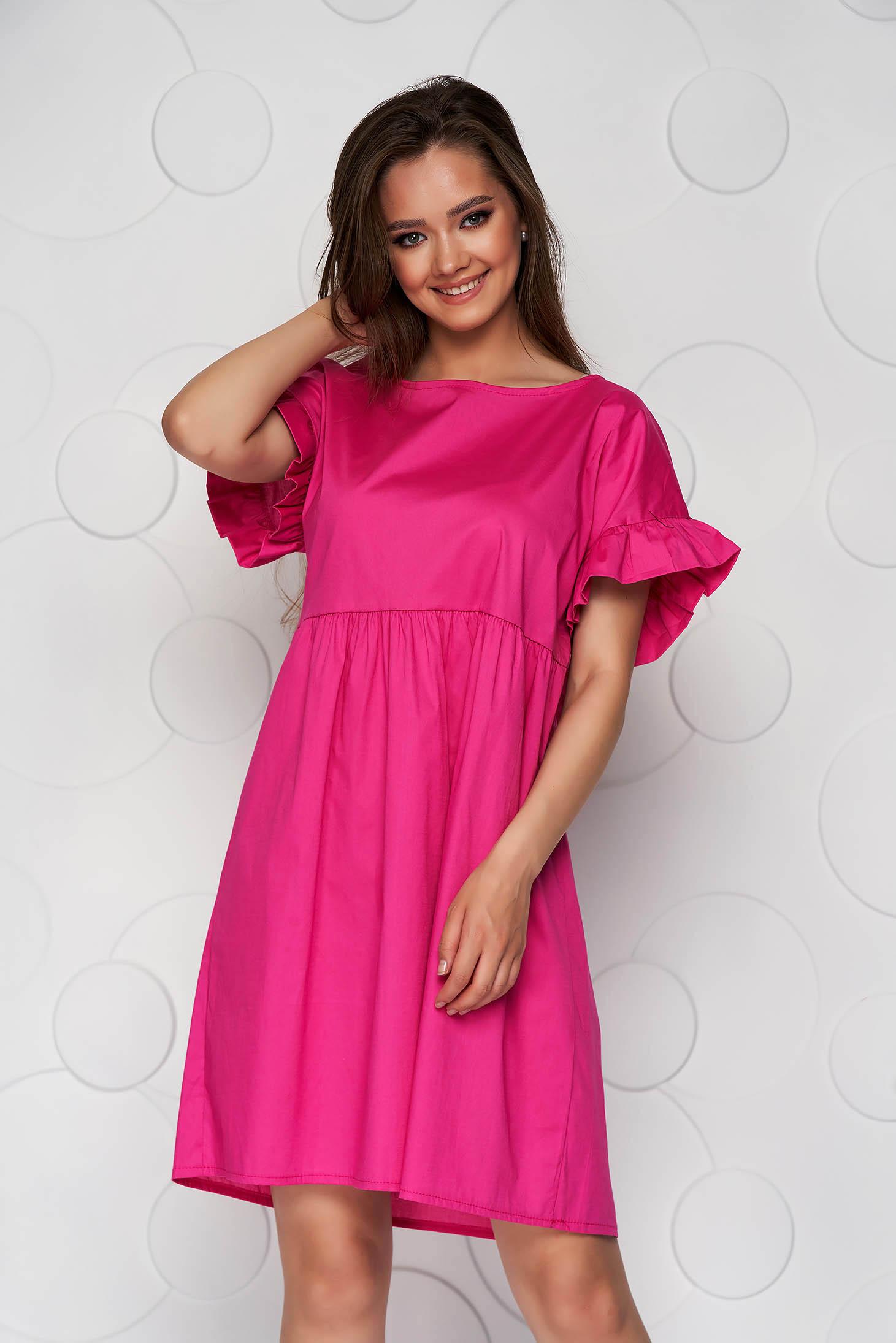 Rochie roz din poplin cu croi larg cu volanase