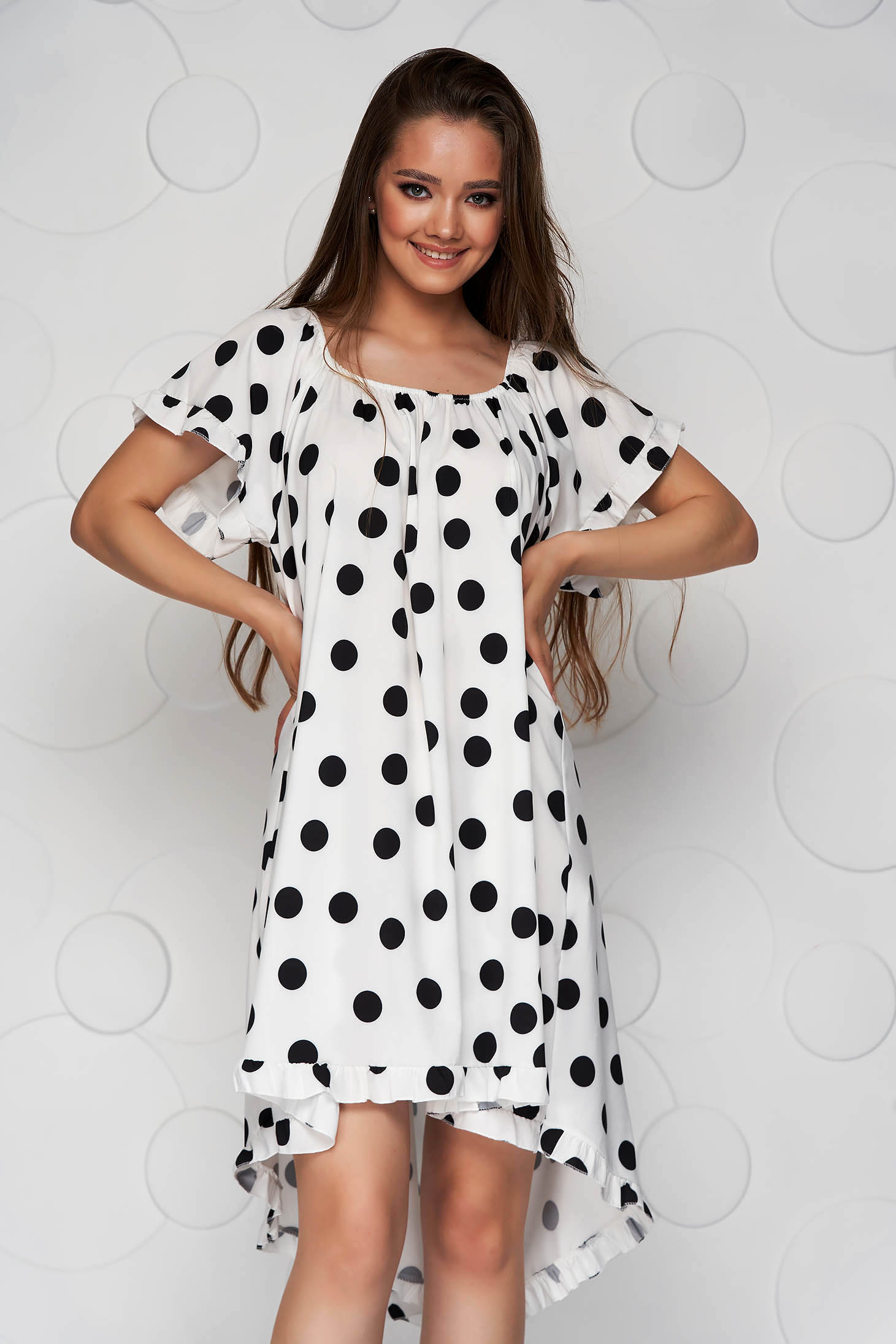 White dress dots print loose fit from elastic fabric elastic cleavage