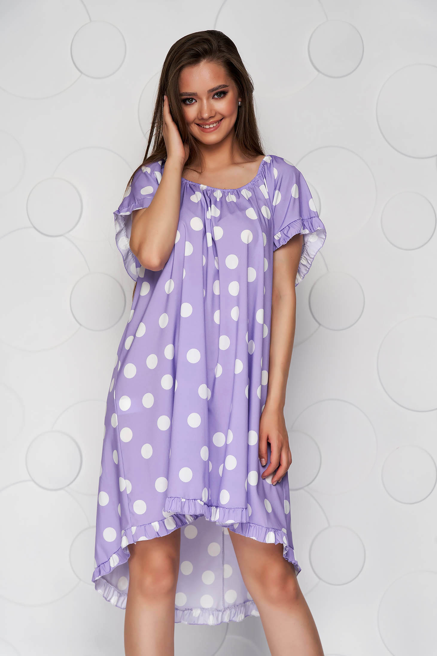 Lila dress dots print loose fit from elastic fabric elastic cleavage