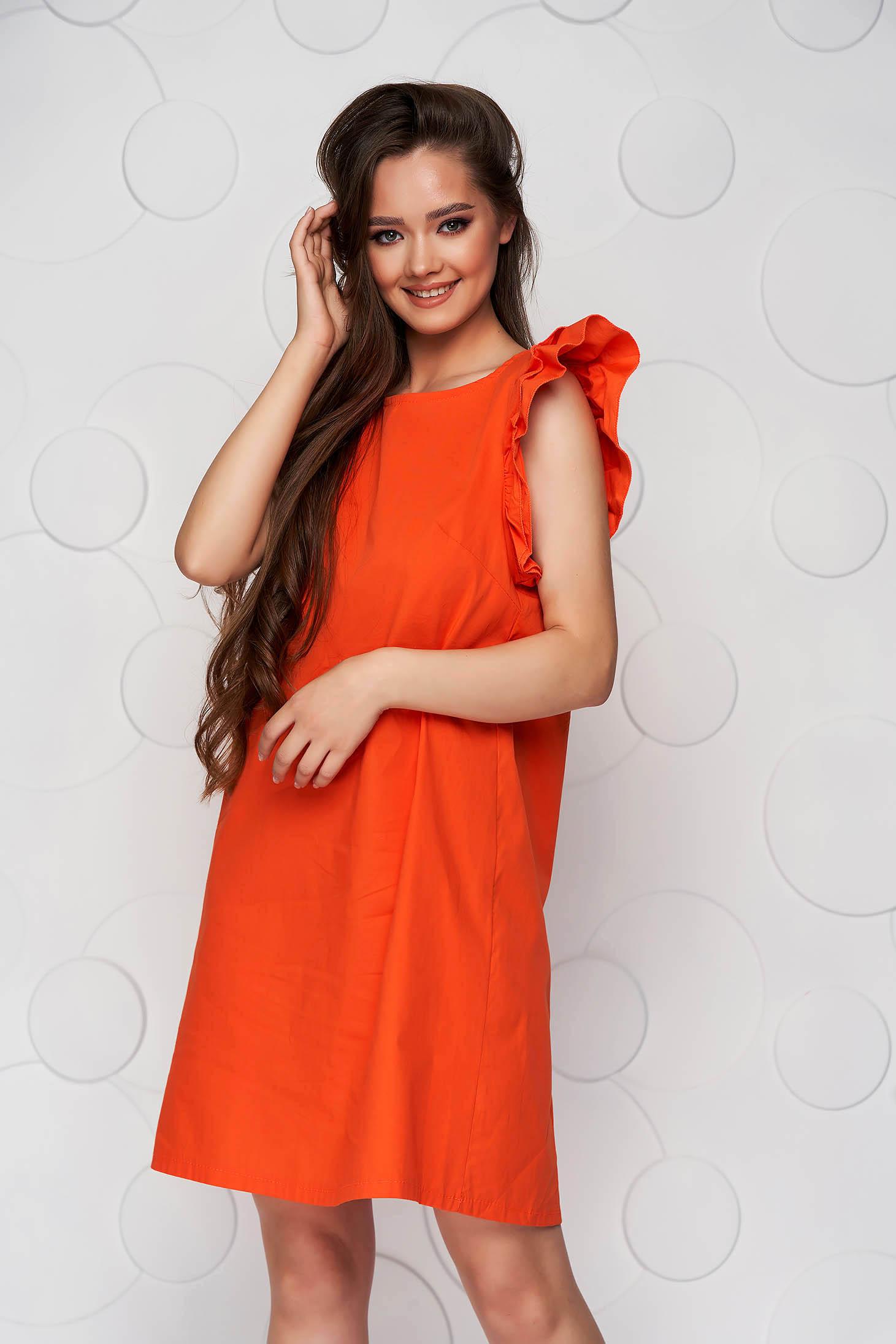 Rochie portocalie din poplin cu croi in a cu volanase si fundita in partea din spate