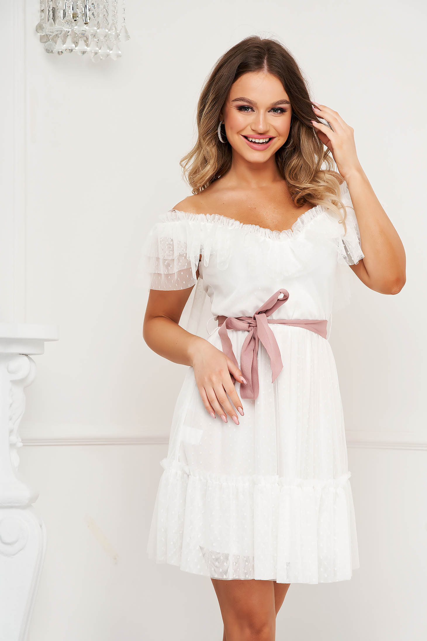 White dress from tulle clubbing cloche with elastic waist on the shoulders plumeti