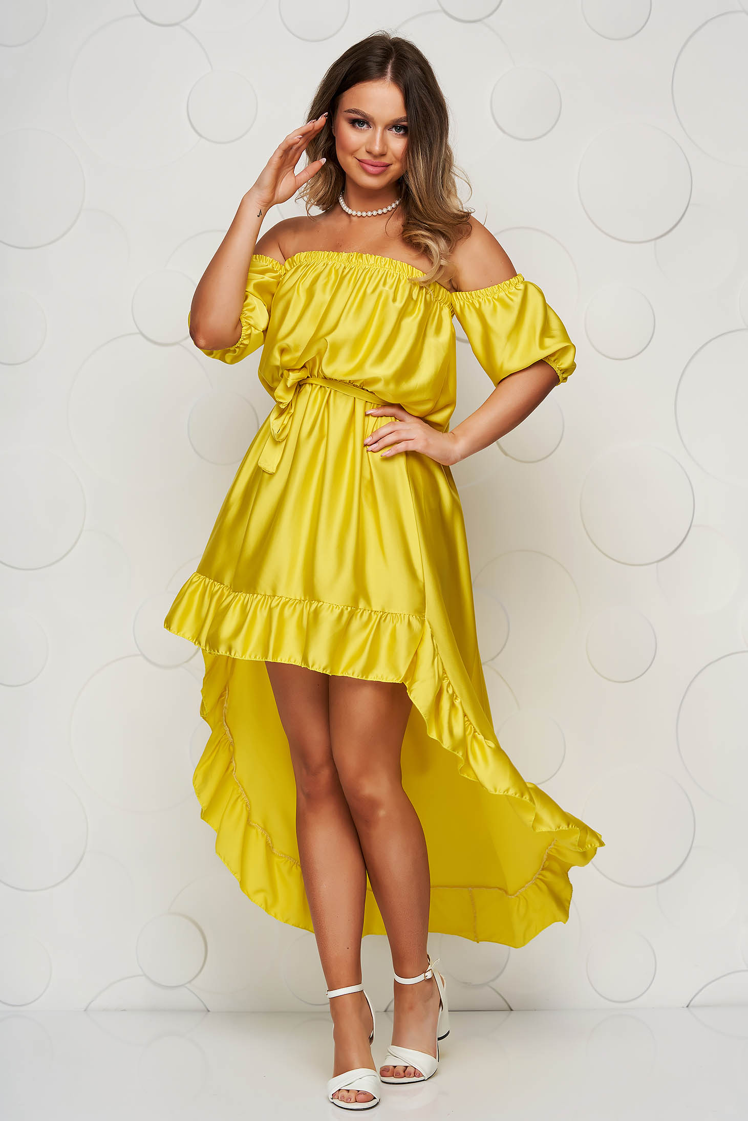 Yellow dress from satin cloche with elastic waist asymmetrical with ruffle details on the shoulders