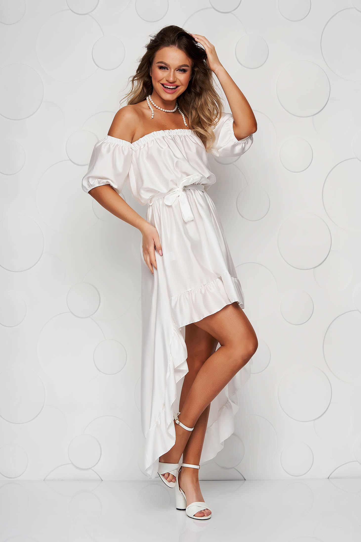 White dress from satin cloche with elastic waist asymmetrical with ruffle details on the shoulders