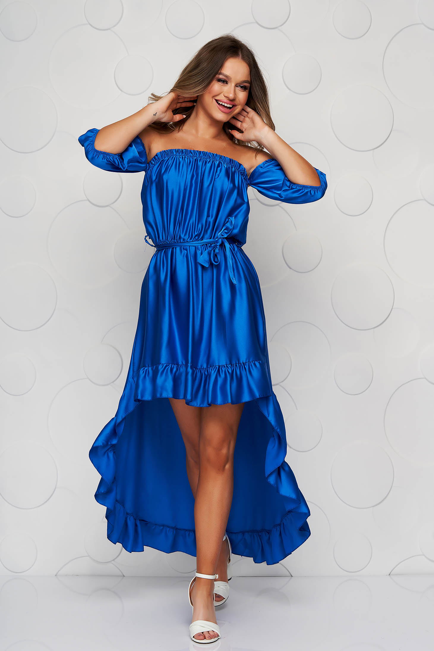 Blue dress from satin cloche with elastic waist asymmetrical with ruffle details on the shoulders