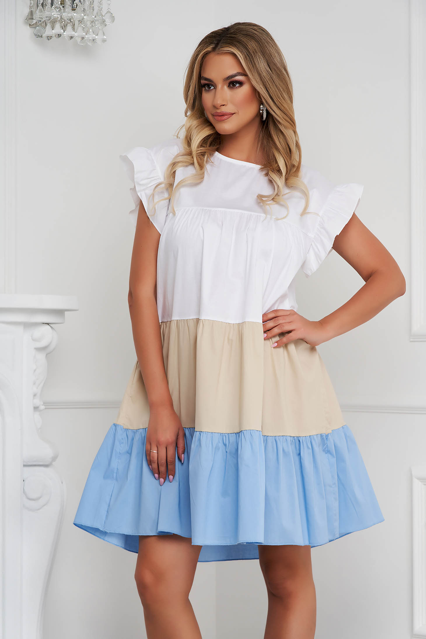 Lightblue dress thin fabric loose fit midi with ruffle details airy fabric