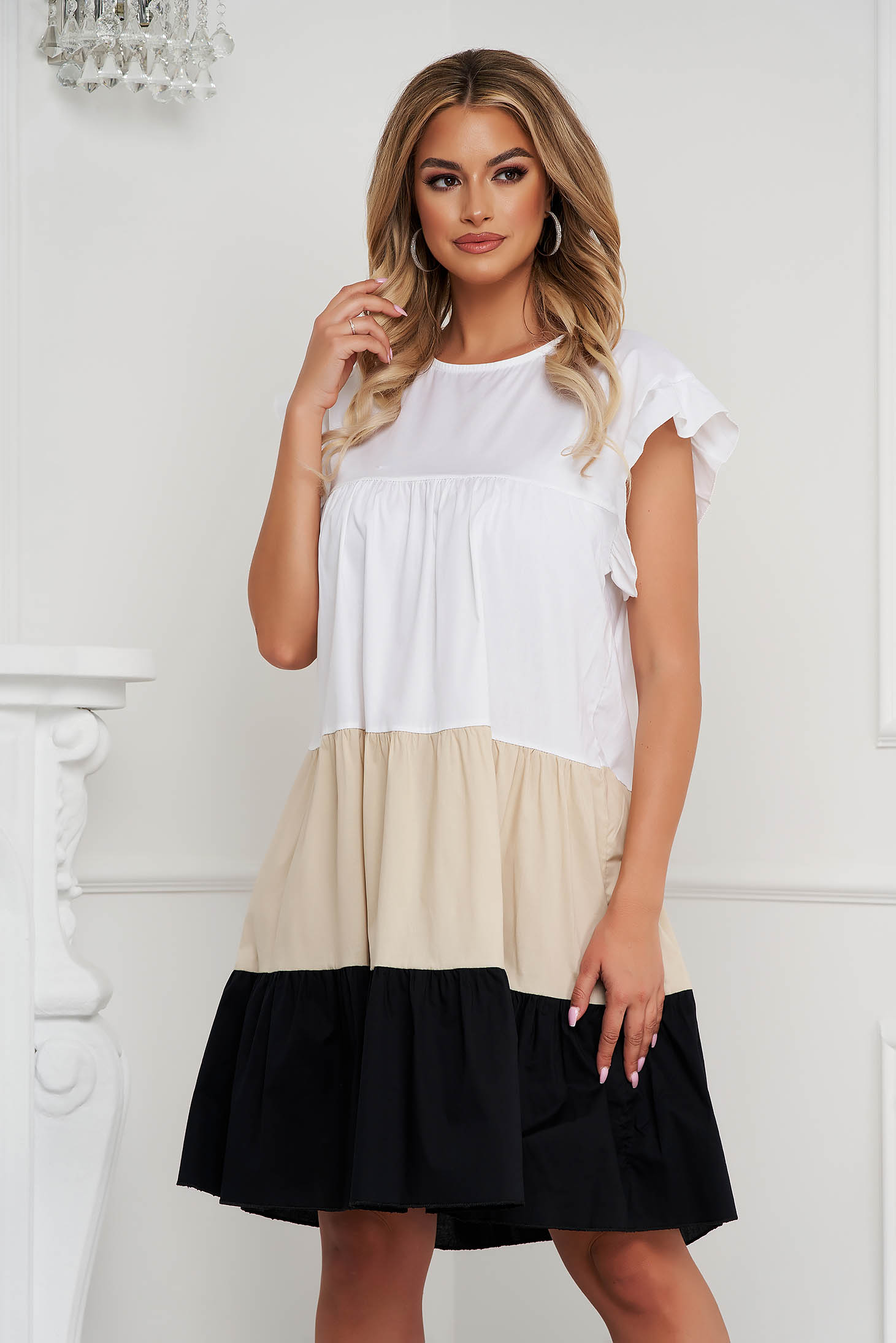 Cream dress thin fabric loose fit midi with ruffle details airy fabric