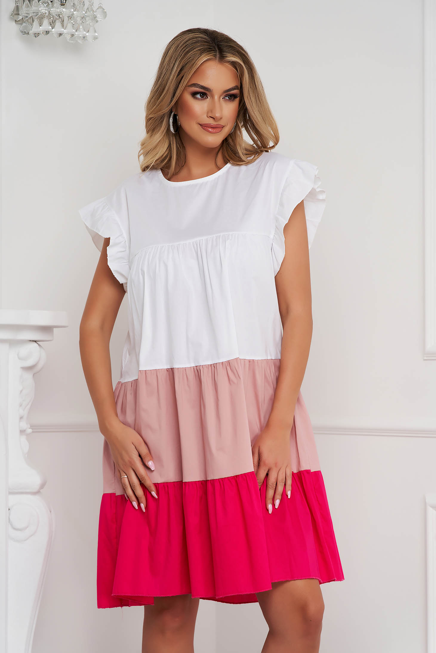 Lightpink dress thin fabric loose fit midi with ruffle details airy fabric