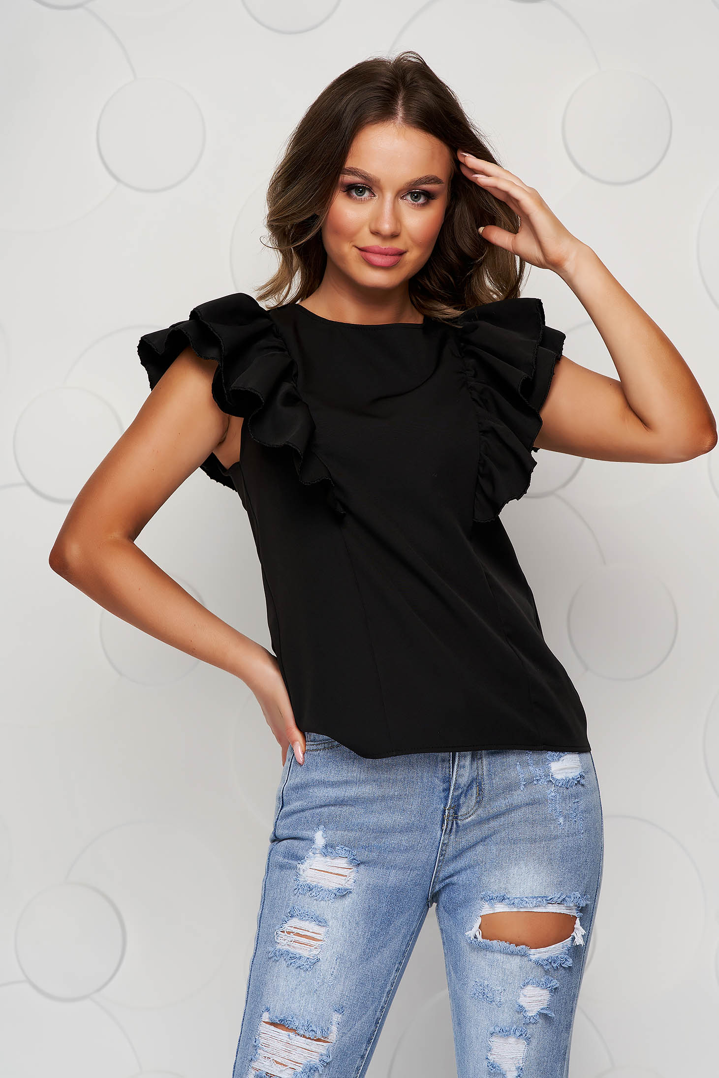 Black women`s blouse with ruffle details bare back loose fit