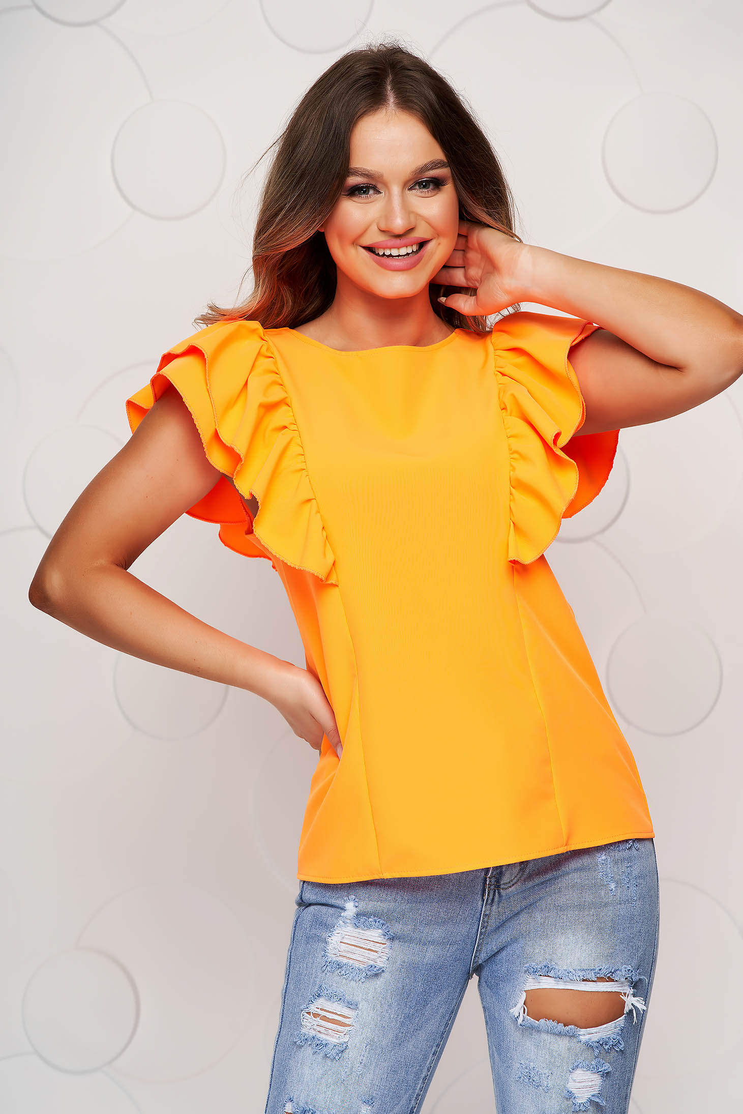 Orange women`s blouse with ruffle details bare back loose fit