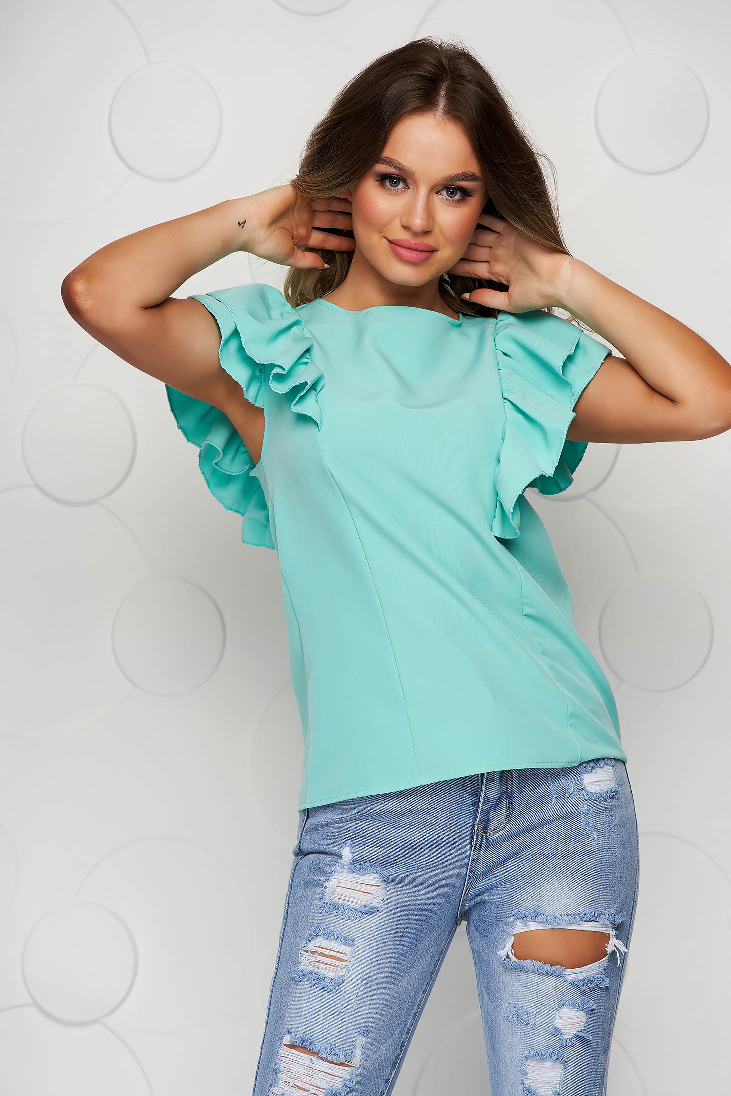 Mint women`s blouse with ruffle details bare back loose fit