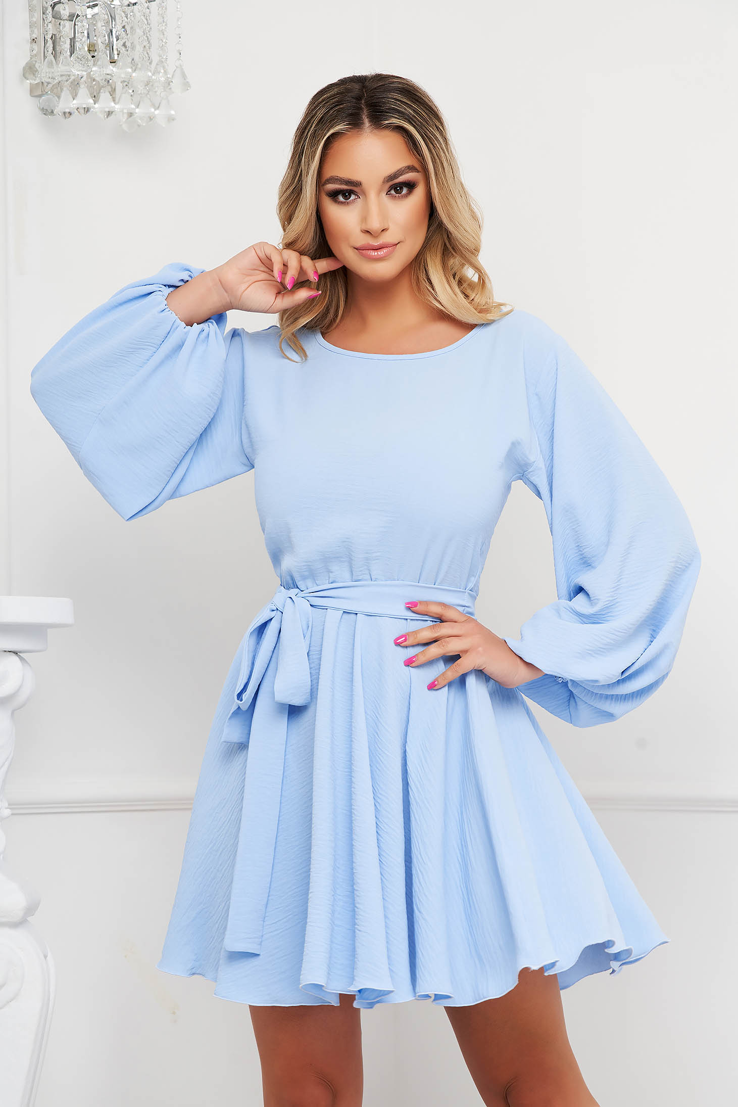 StarShinerS dress lightblue cloche with elastic waist from elastic fabric with puffed sleeves