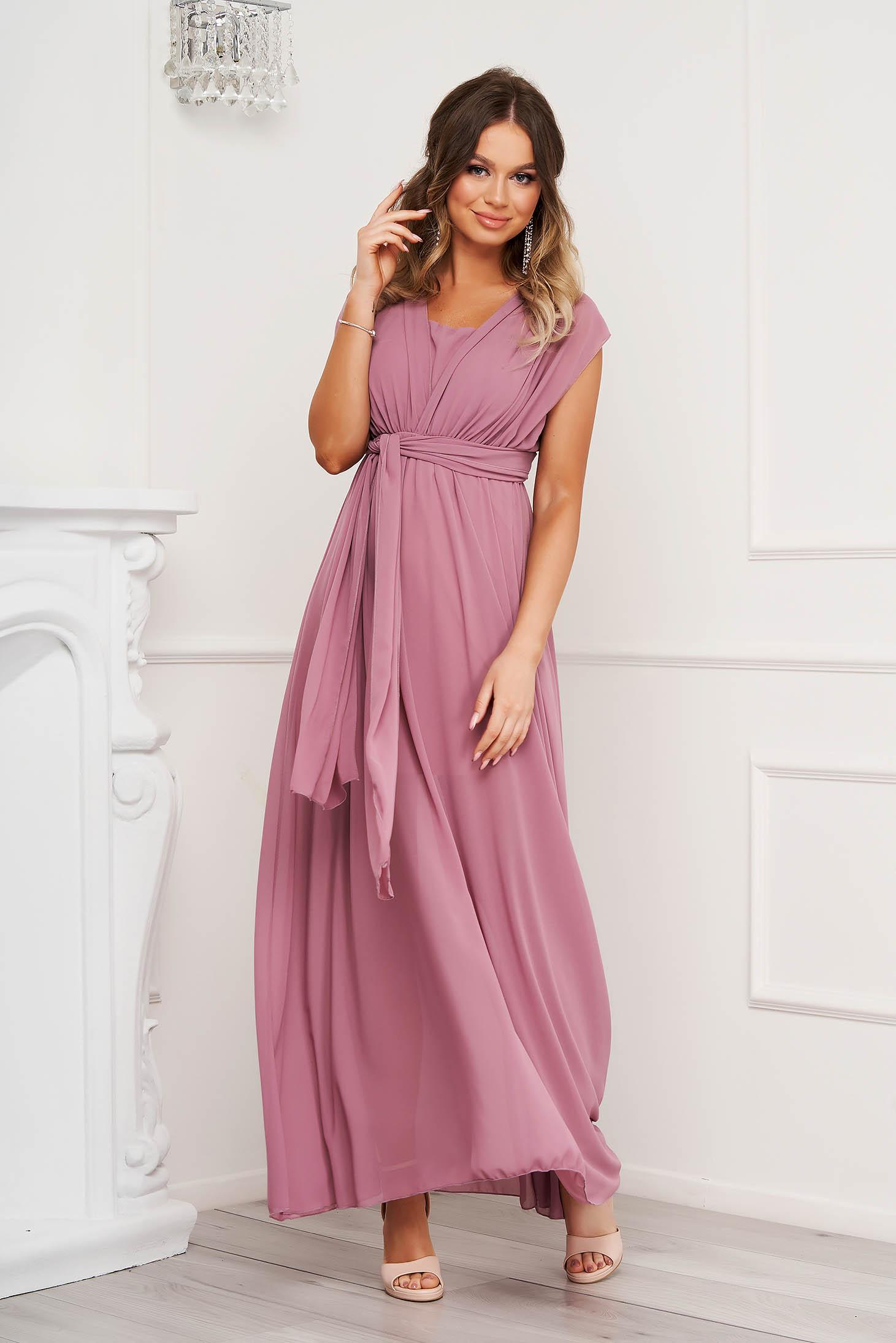 Púder rózsaszínű alkalmi muszlin ruha harang alakú gumirozott derékrésszel