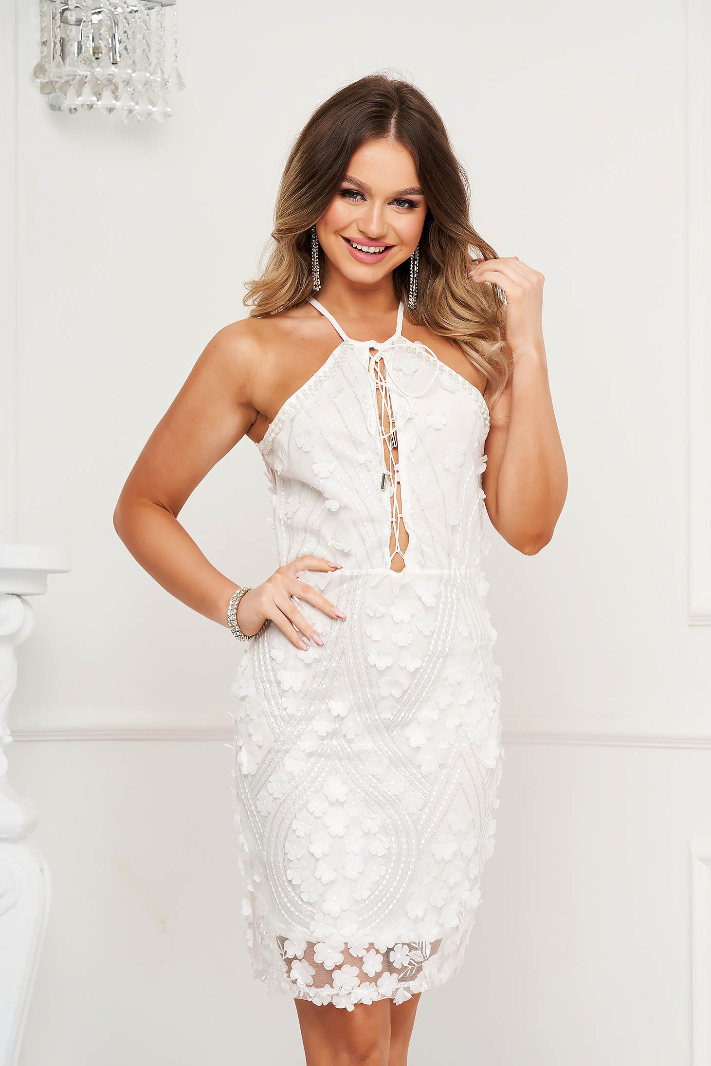 White dress pencil short cut occasional with floral details bare back