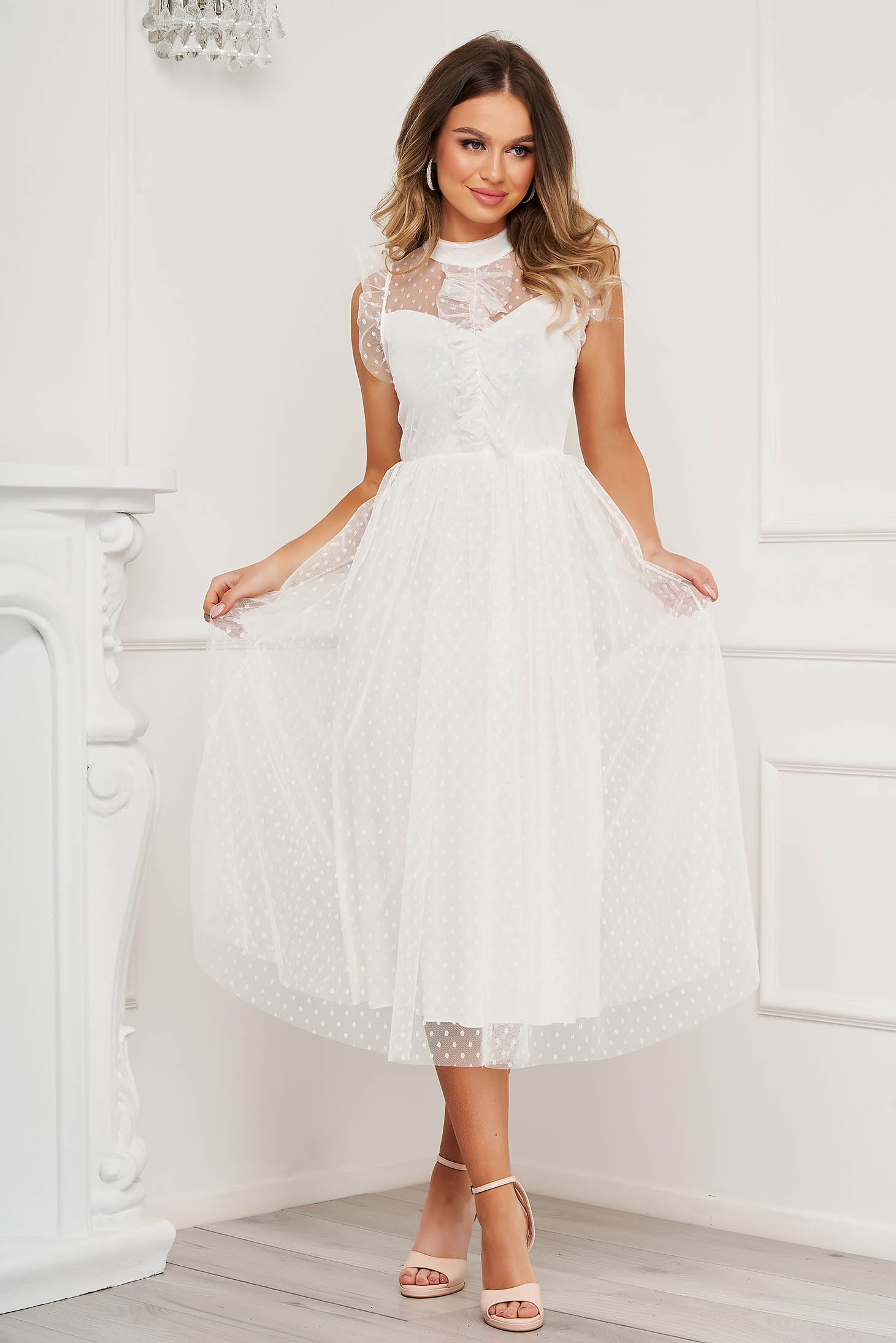 White dress midi occasional cloche with turtle neck with ruffle details from tulle