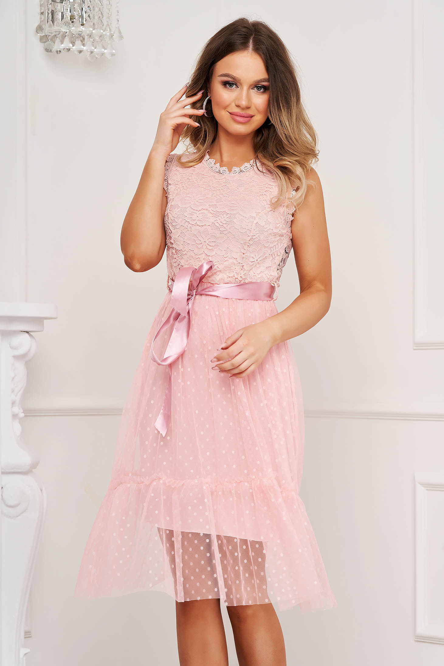 Pink dress cloche with elastic waist occasional midi plumeti