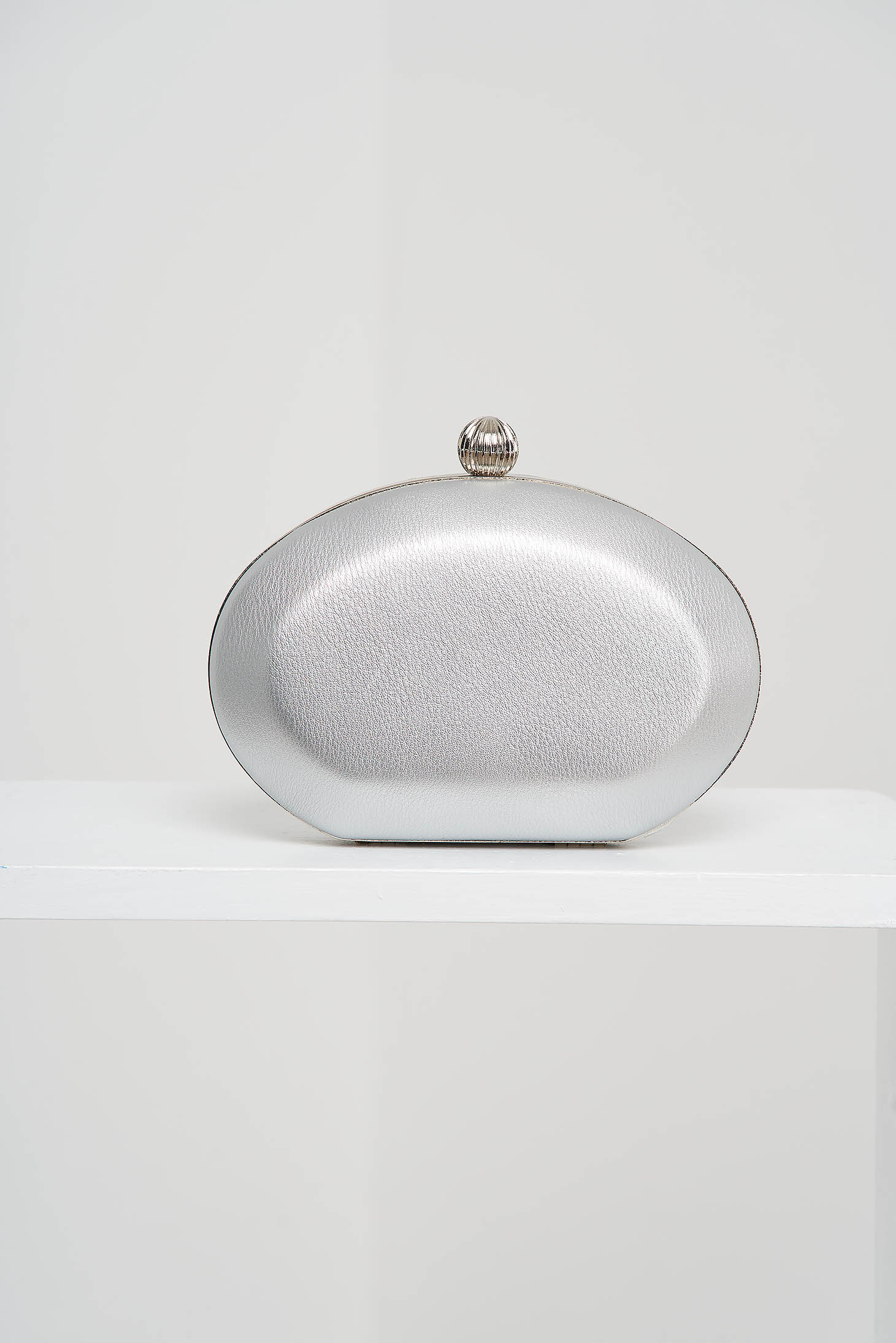 Silver bag from ecological leather occasional