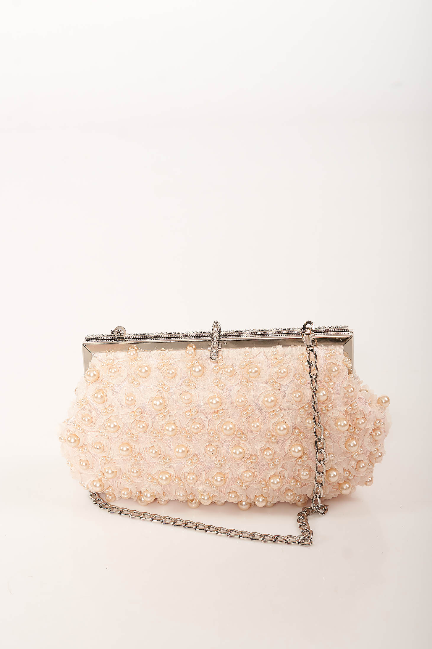 Pink bag occasional detachable chain with pearls with crystal embellished details