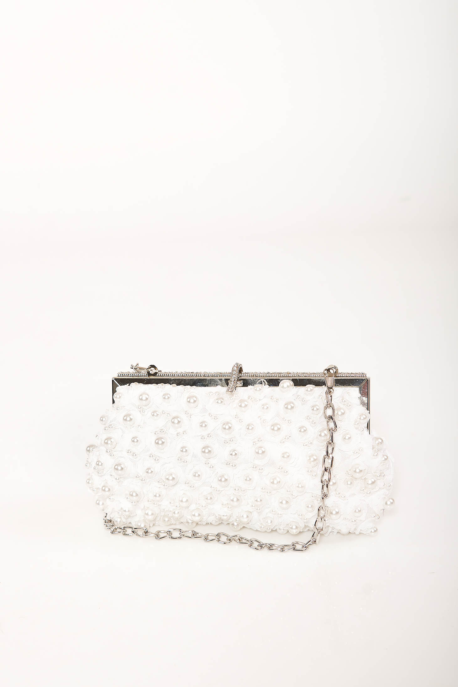 White bag occasional detachable chain with pearls with crystal embellished details