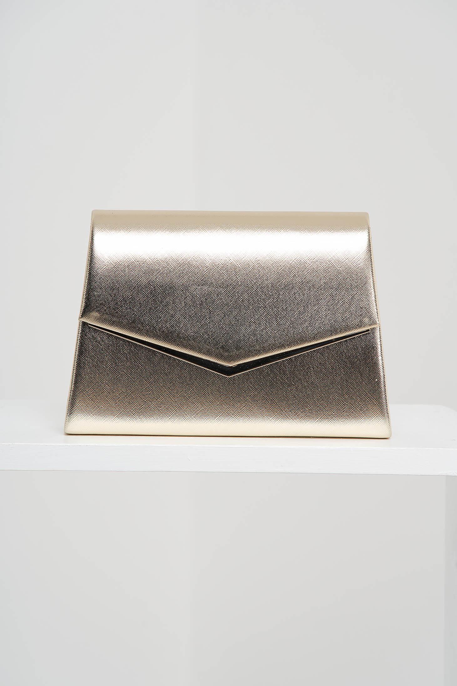 Aranyszínű táska alkalmi műbőrből