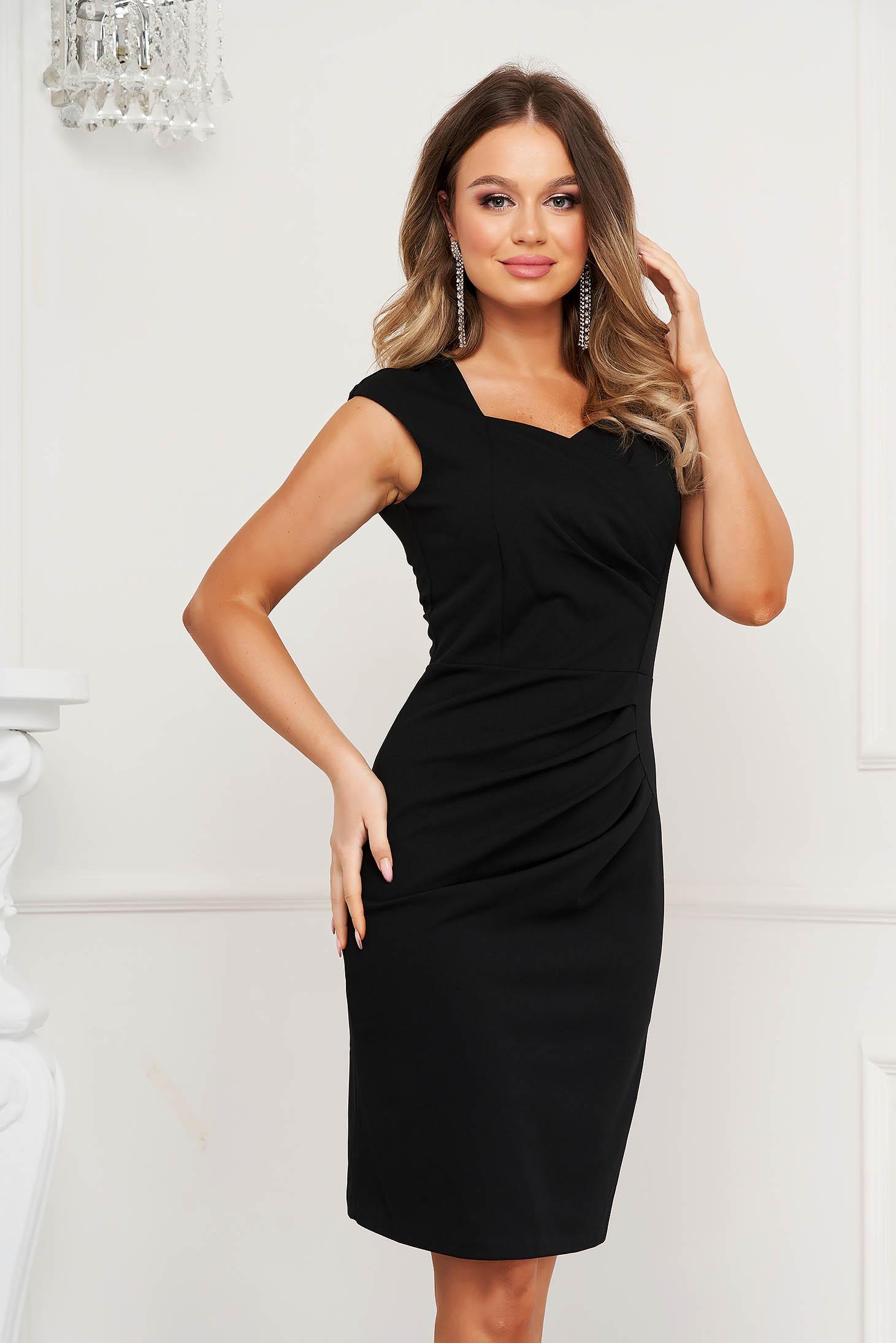 Black dress pencil occasional short cut slightly wrinkled fabric