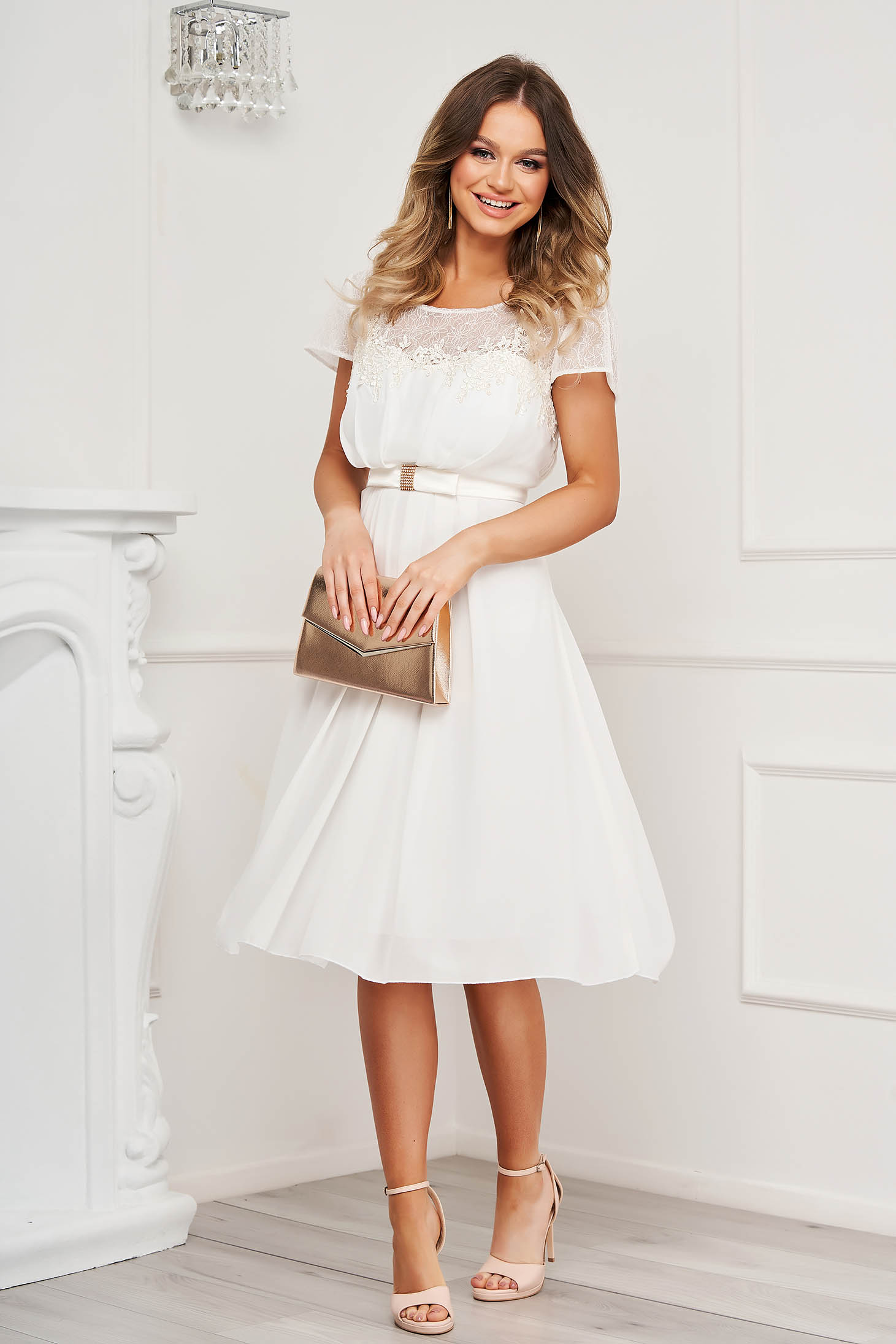 White dress short cut occasional from veil fabric with embroidery details
