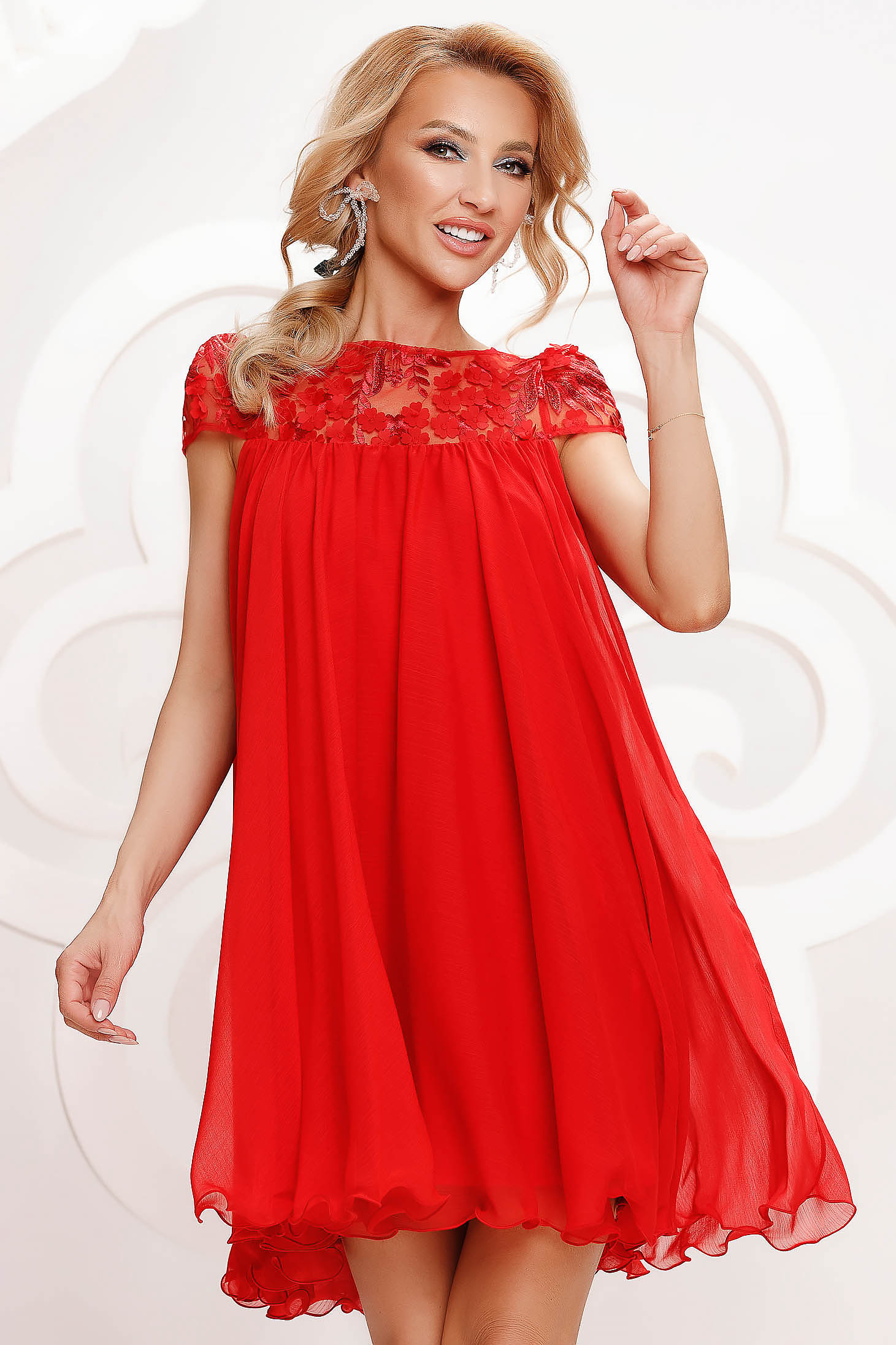 Red dress from veil fabric occasional with lace details with crystal embellished details loose fit