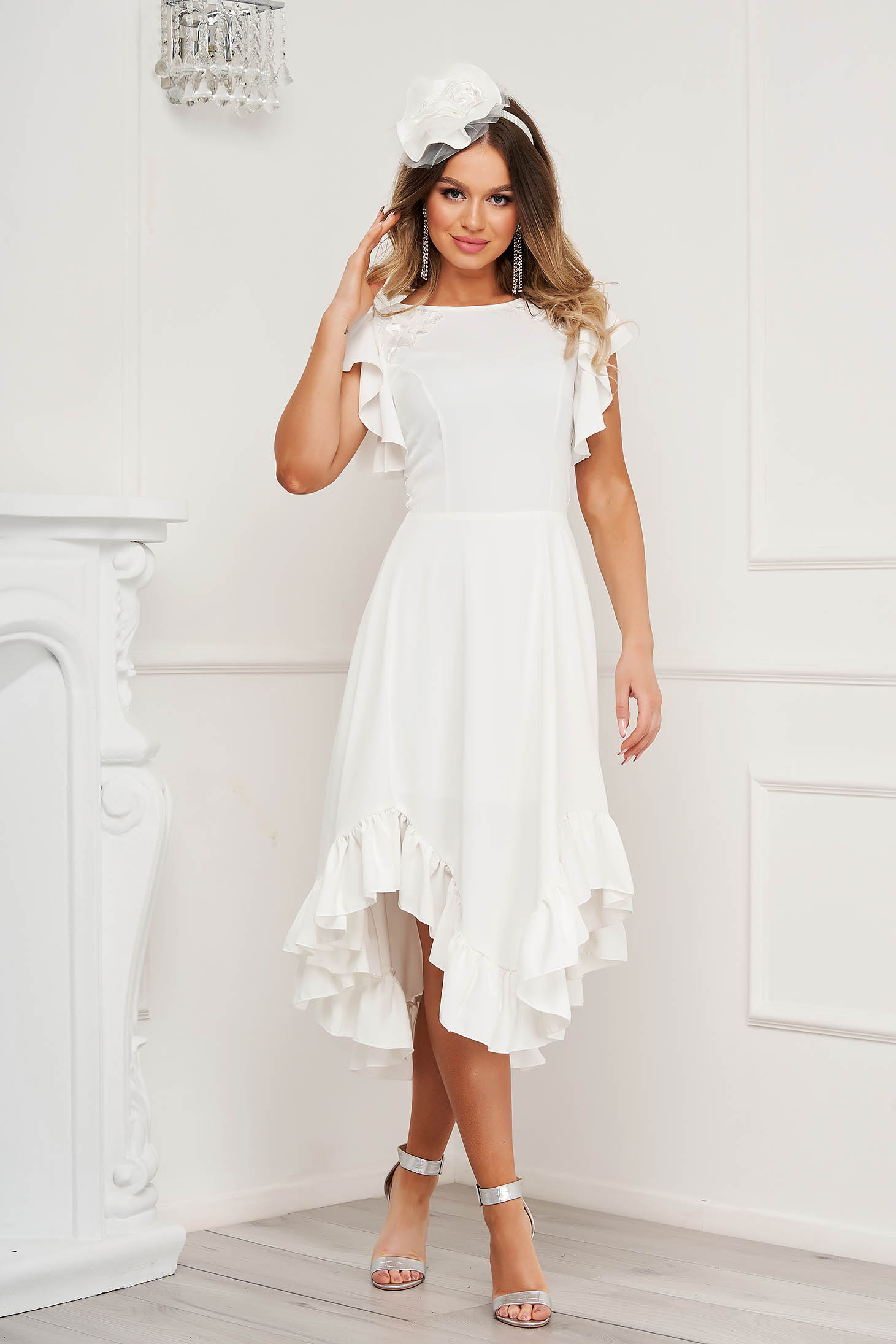 StarShinerS ivory dress midi occasional with ruffle details cloth thin fabric