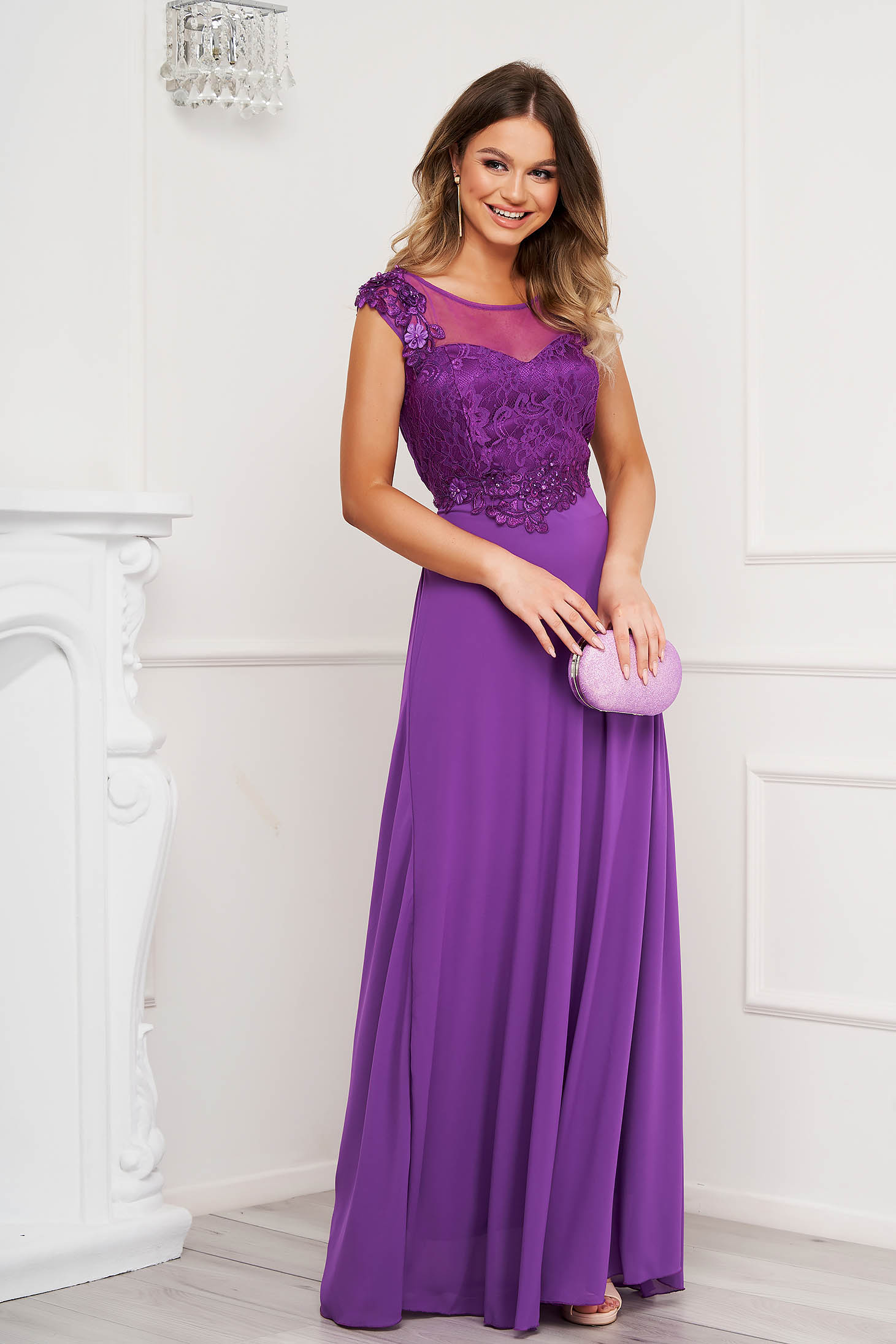 Purple dress cloche occasional long with cut back with lace details
