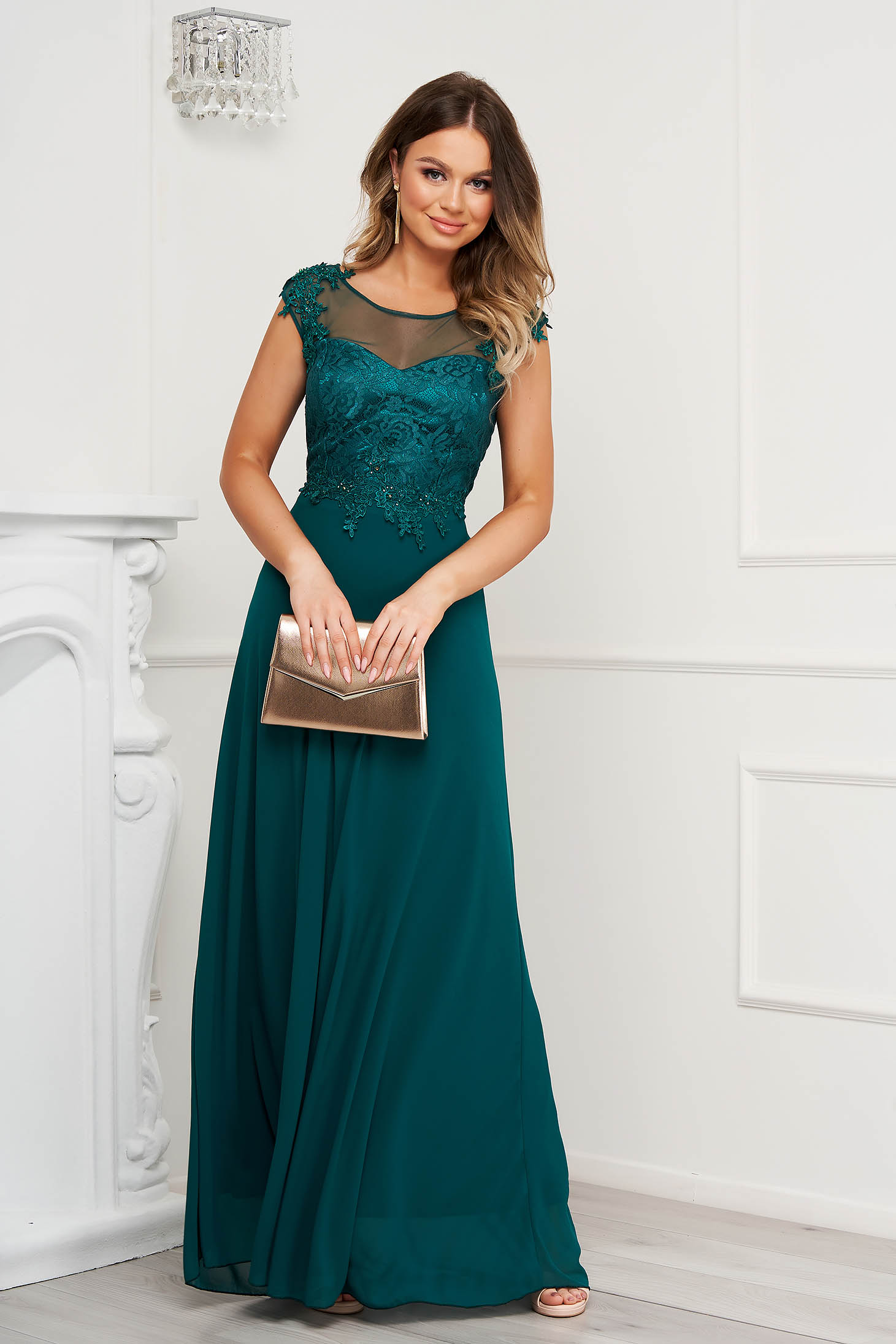 Green dress cloche occasional long with cut back with lace details