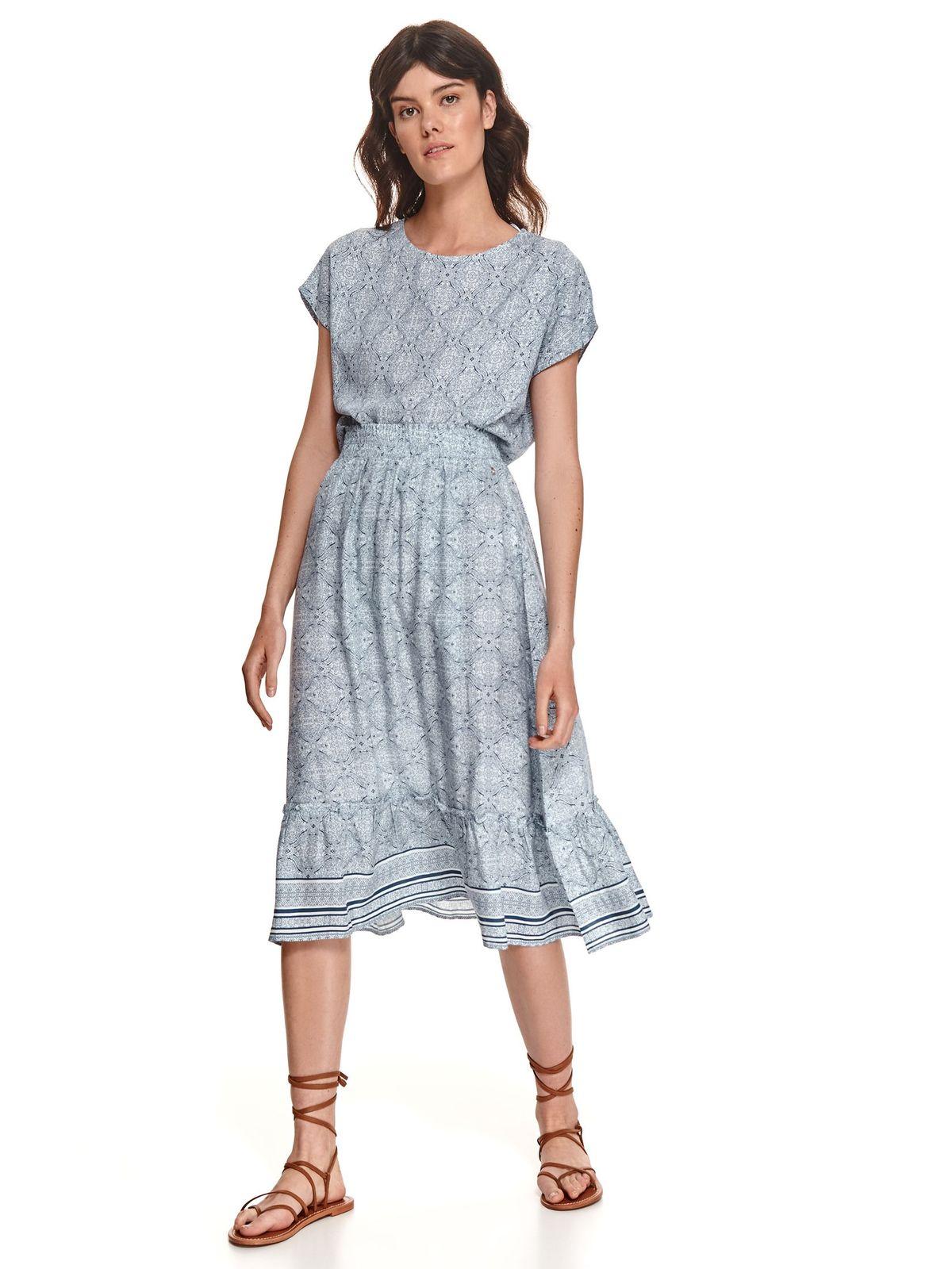 Darkblue skirt midi cloche with elastic waist high waisted