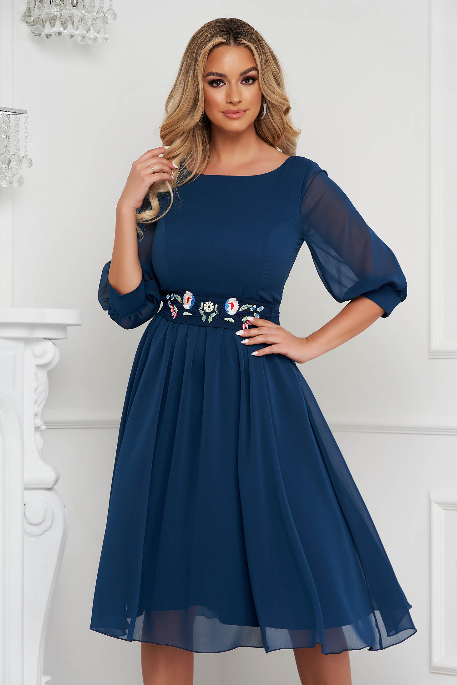 StarShinerS darkblue dress occasional midi cloche airy fabric