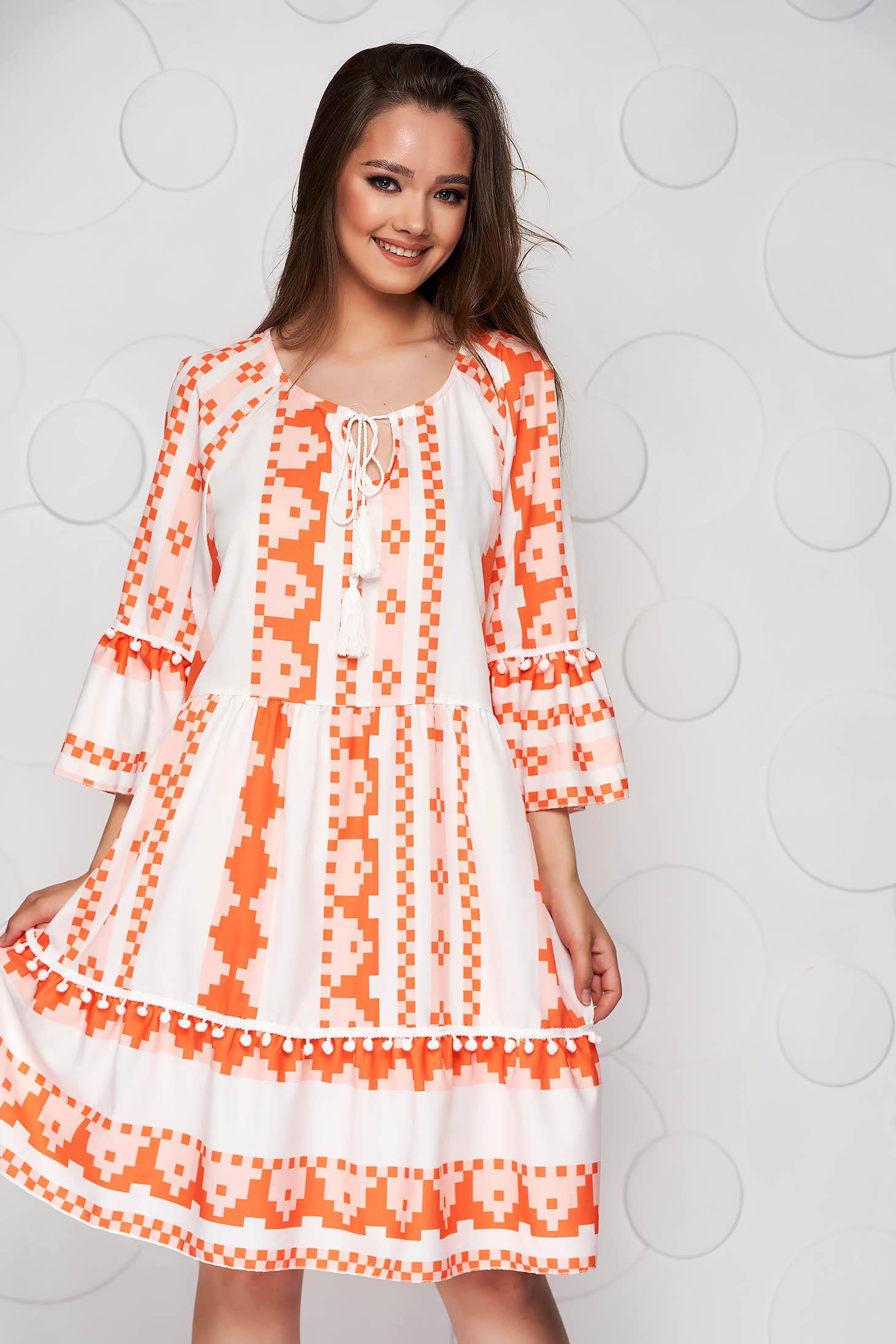 Rochie SunShine portocalie midi cu croi larg din material vaporos cu maneci clopot
