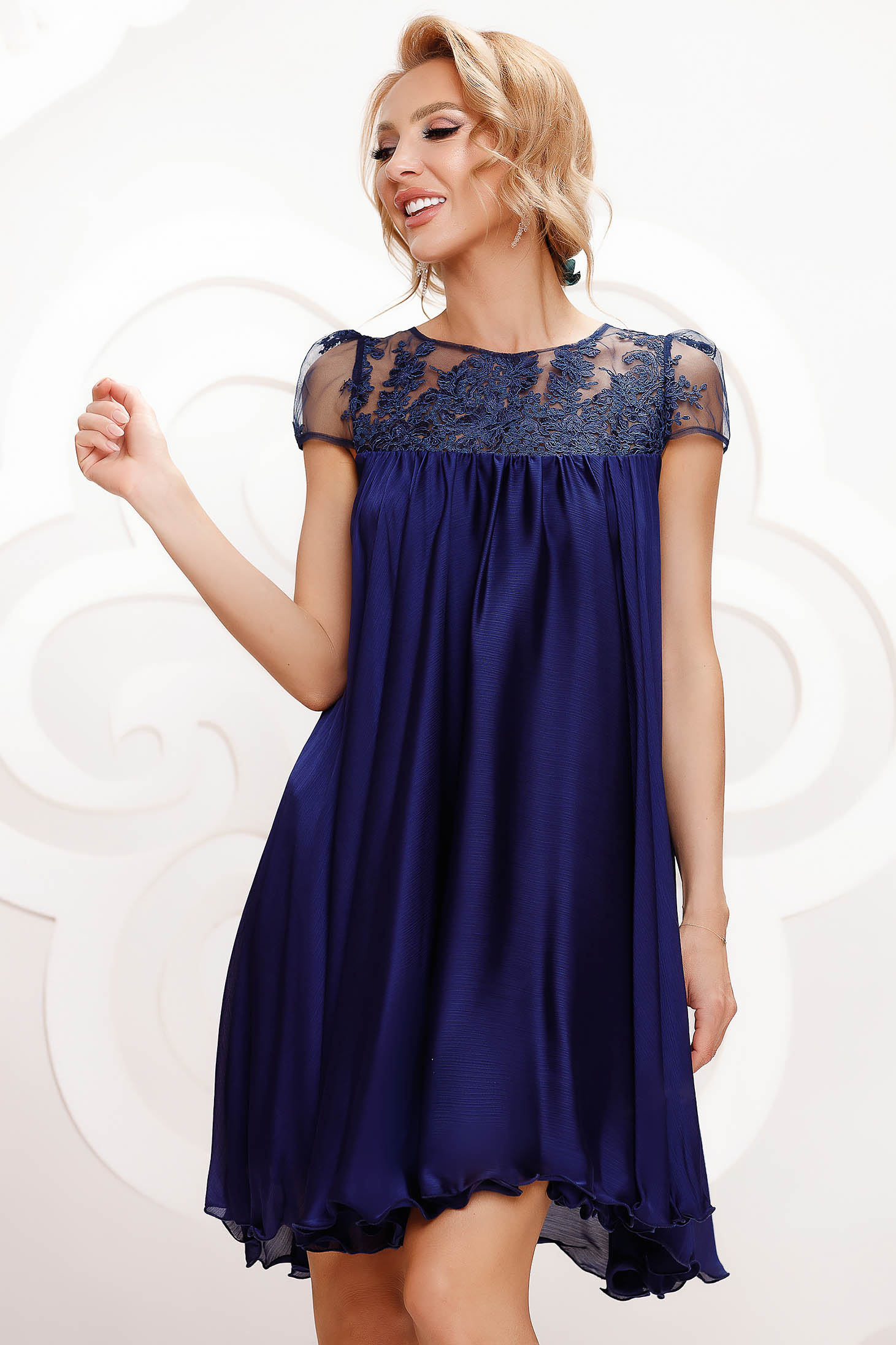 Darkblue dress from veil fabric occasional with lace details with crystal embellished details loose fit