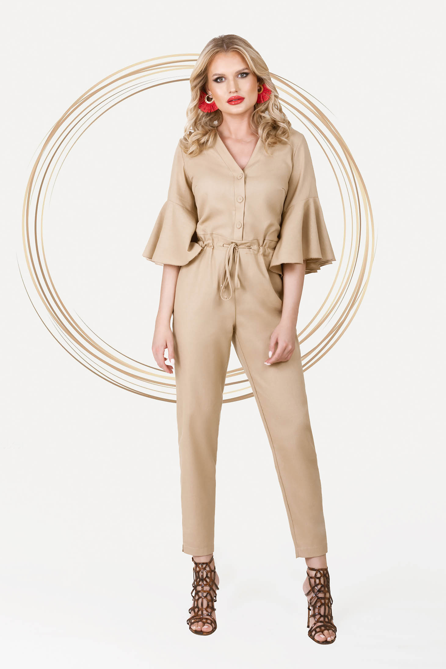 Cream with pockets jumpsuit is fastened around the waist with a ribbon elegant