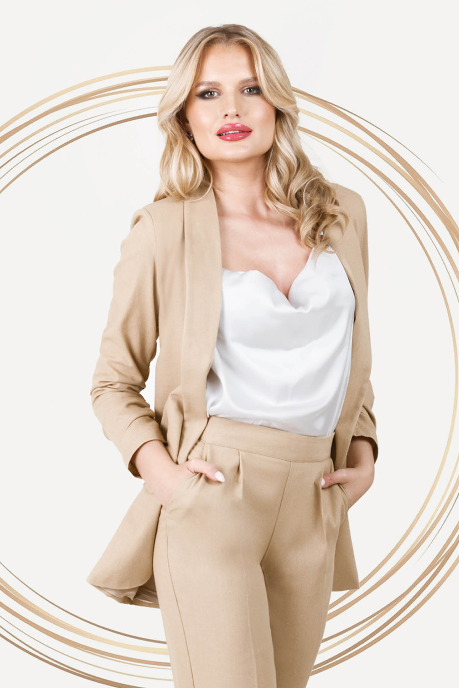 Cream jacket office loose fit with padded shoulders