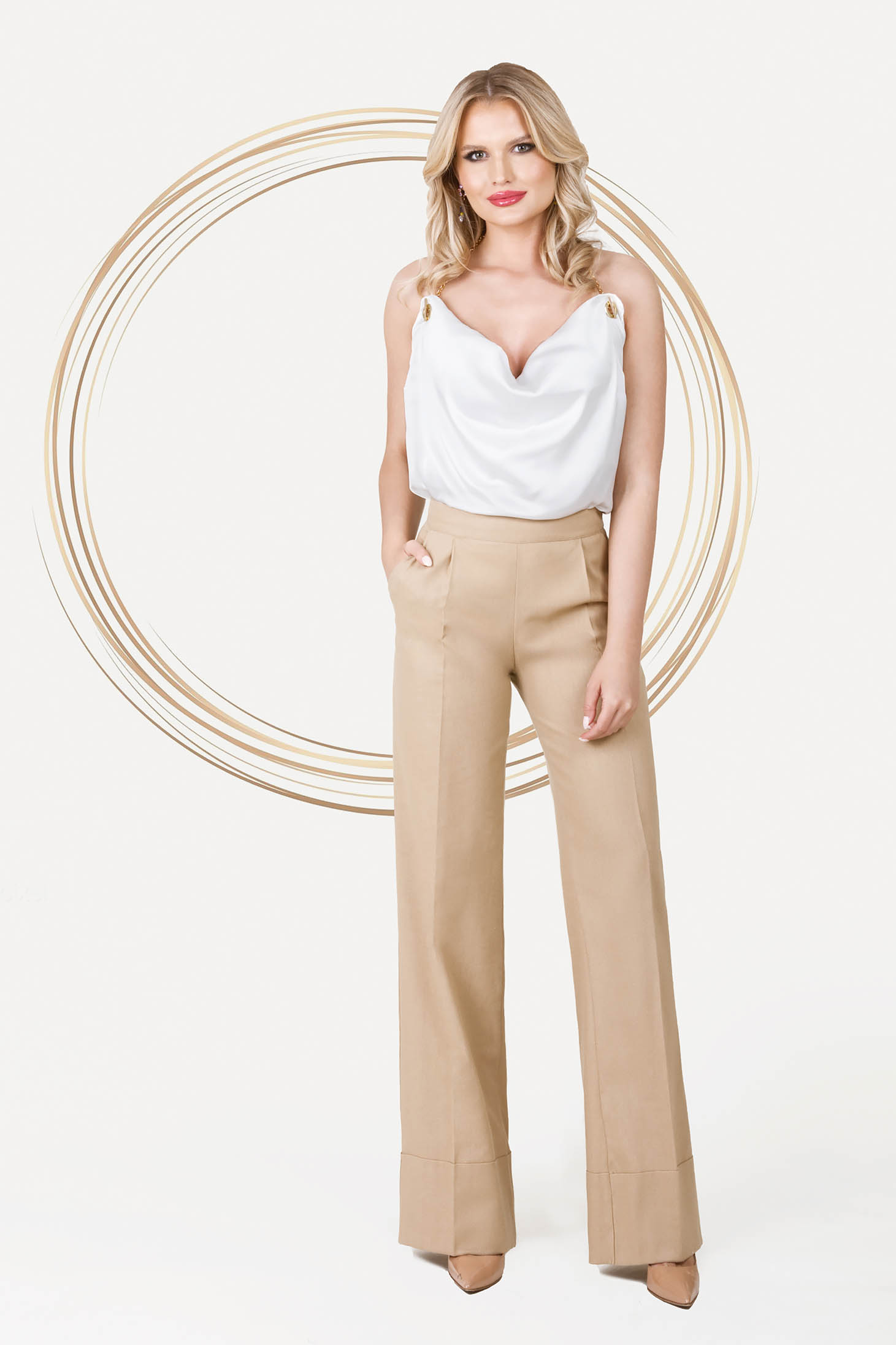 Cream trousers office high waisted with pockets