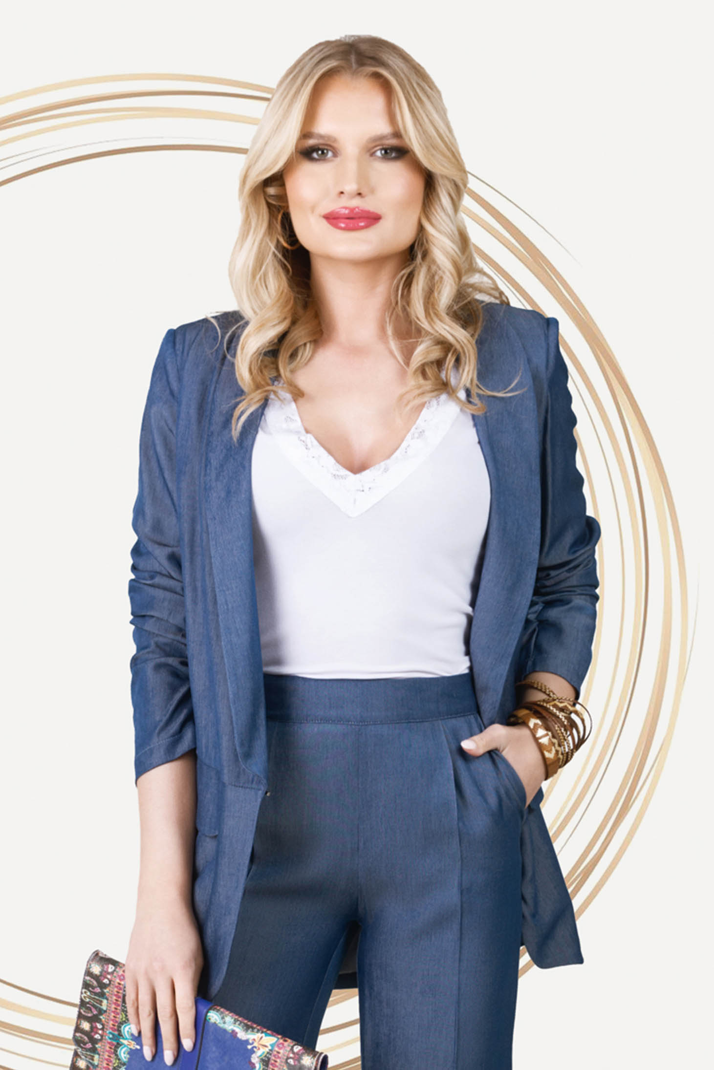 Sacou PrettyGirl albastru office cu efect de jeans cu croi larg si umerii usor buretati